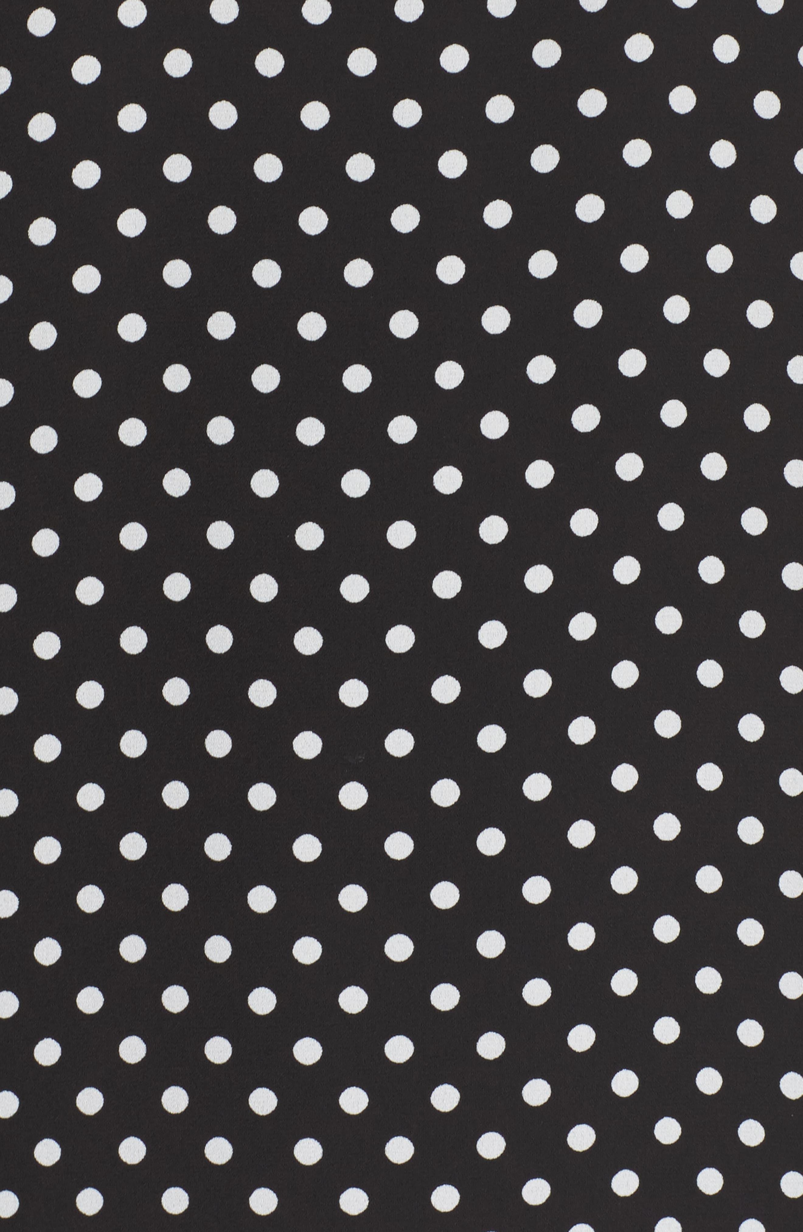 Polka Dot Off the Shoulder Minidress,                             Alternate thumbnail 5, color,                             Black/ White