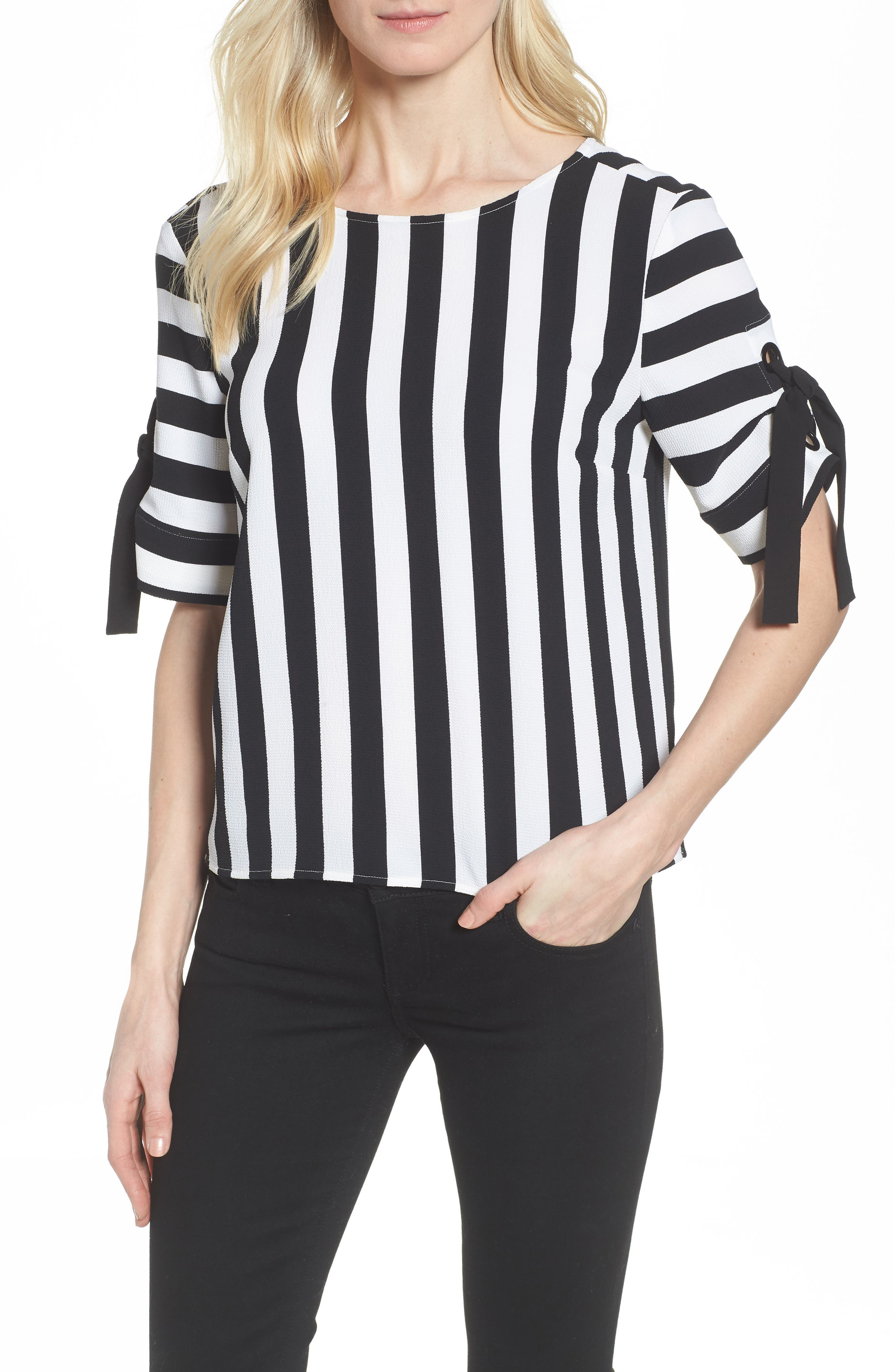 Spectator Stripe Tie Cuff Blouse,                         Main,                         color, Rich Black