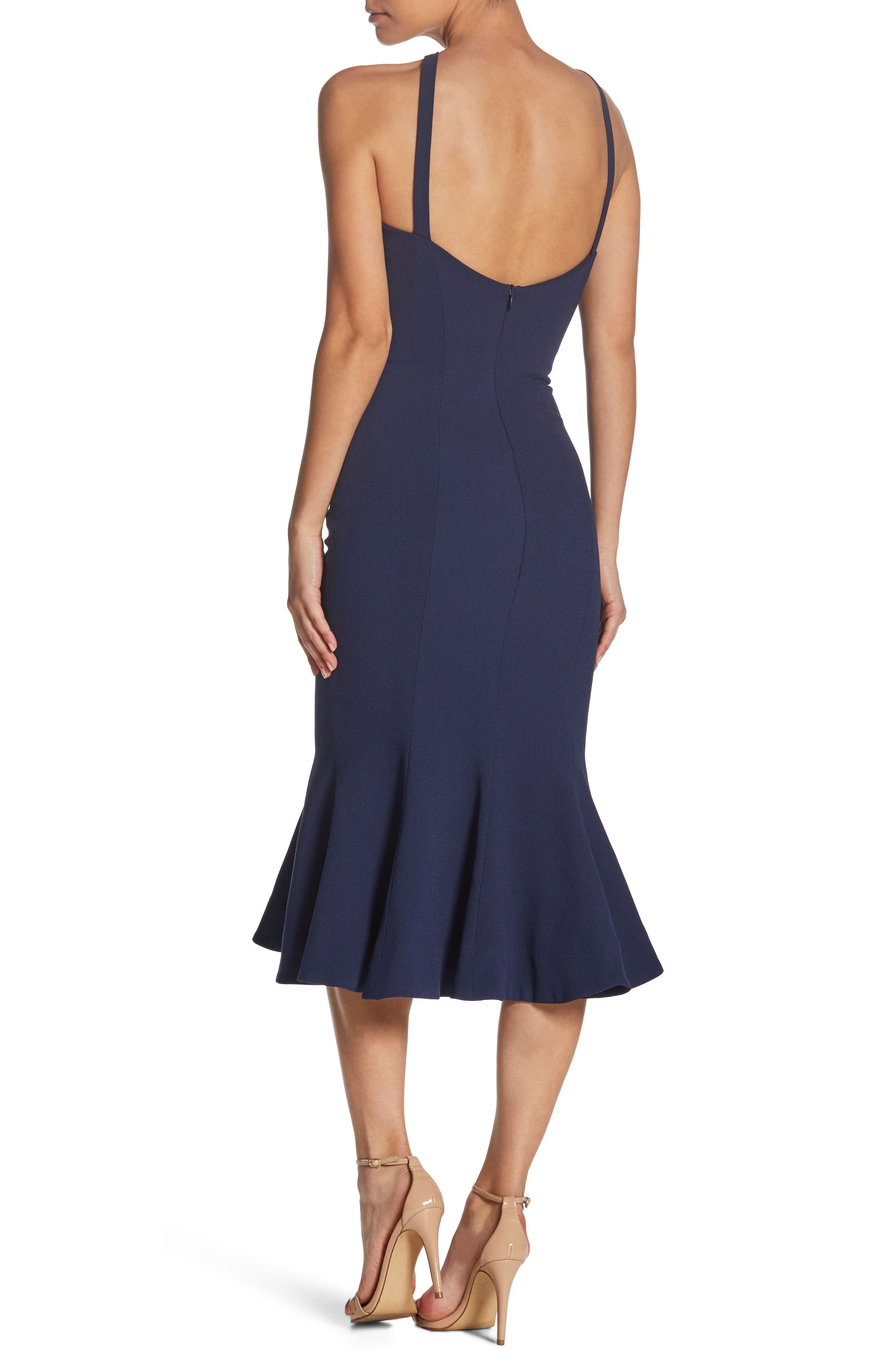 Tessa Crepe Mermaid Dress,                             Alternate thumbnail 2, color,                             Navy