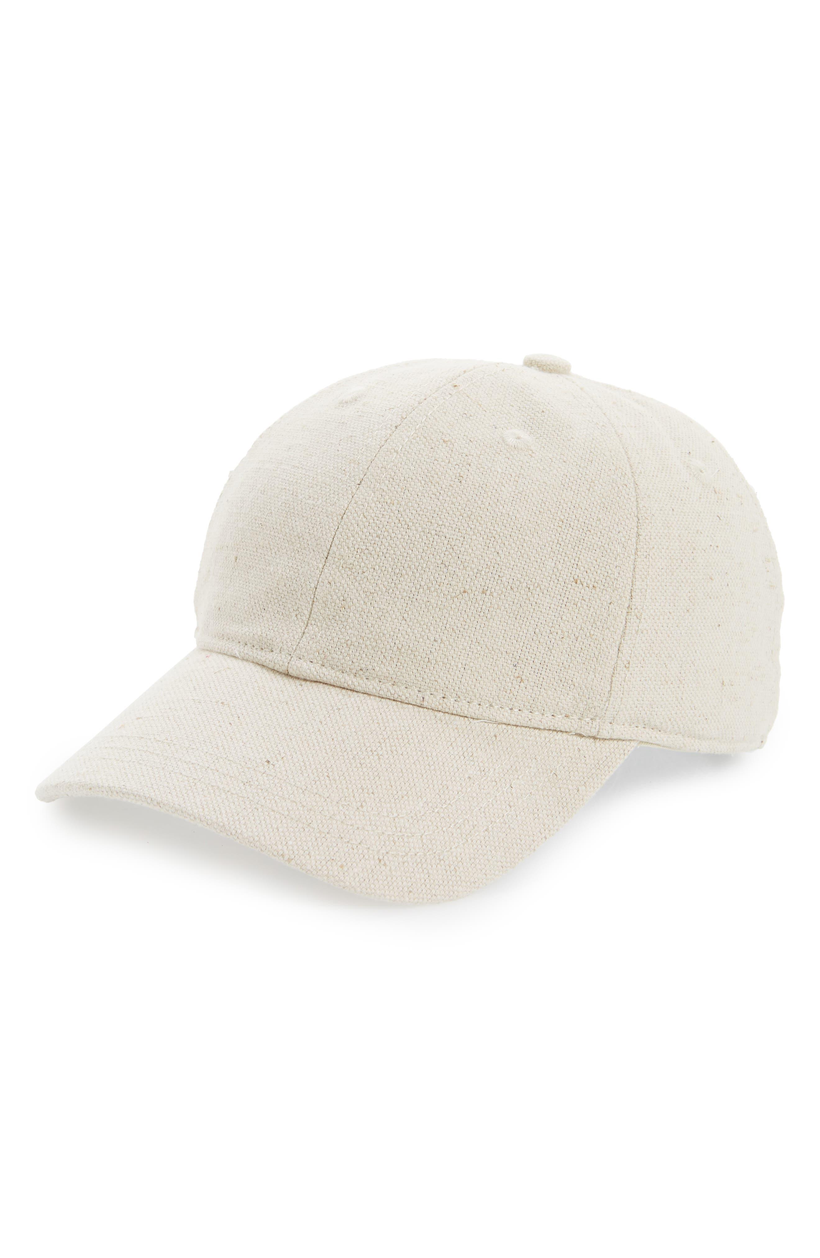 Cotton & Linen Baseball Cap,                             Main thumbnail 1, color,                             Canvas