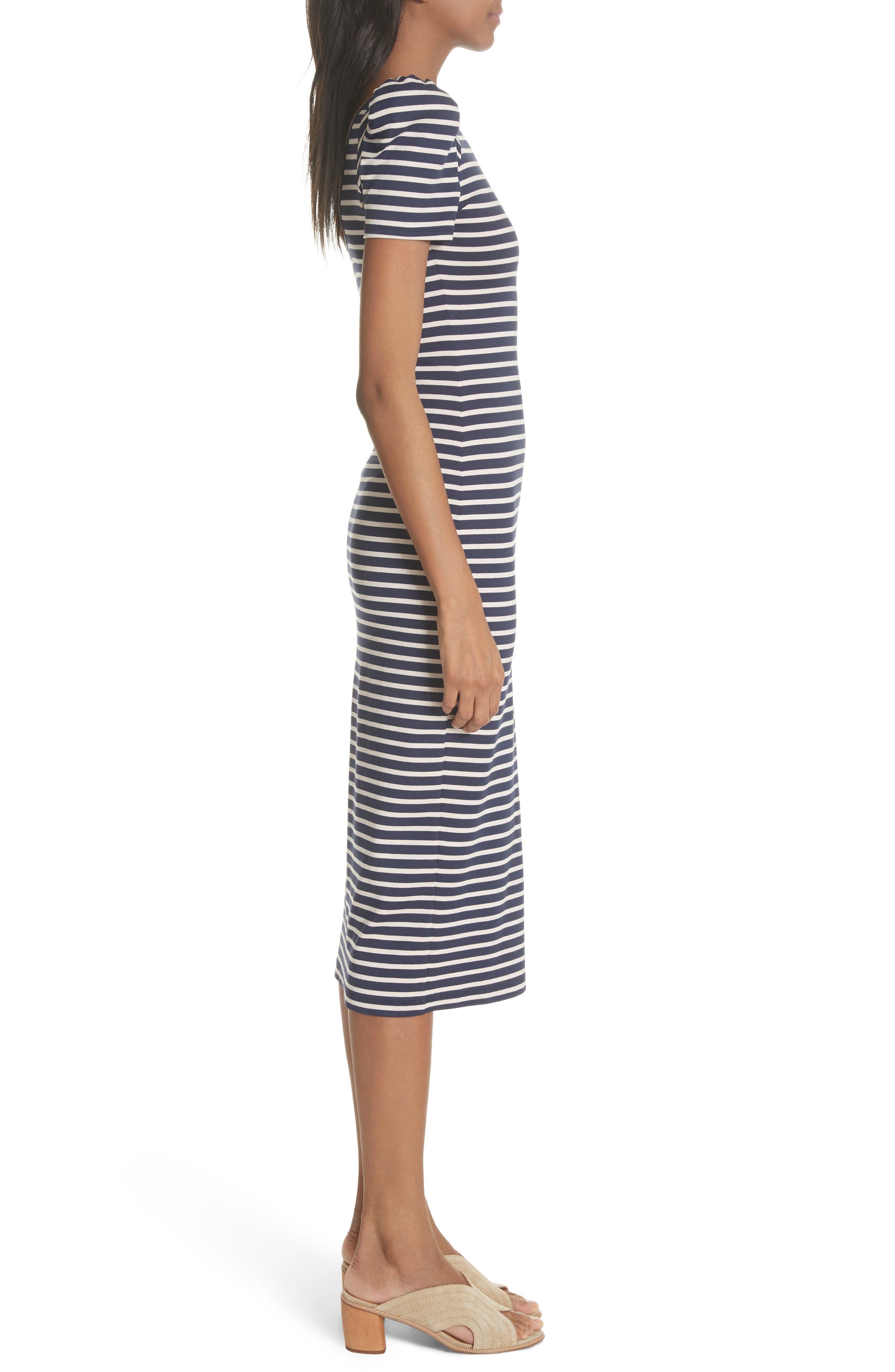 Puff Sleeve Body-Con Midi Dress,                             Alternate thumbnail 3, color,                             Navy Breton Stripe