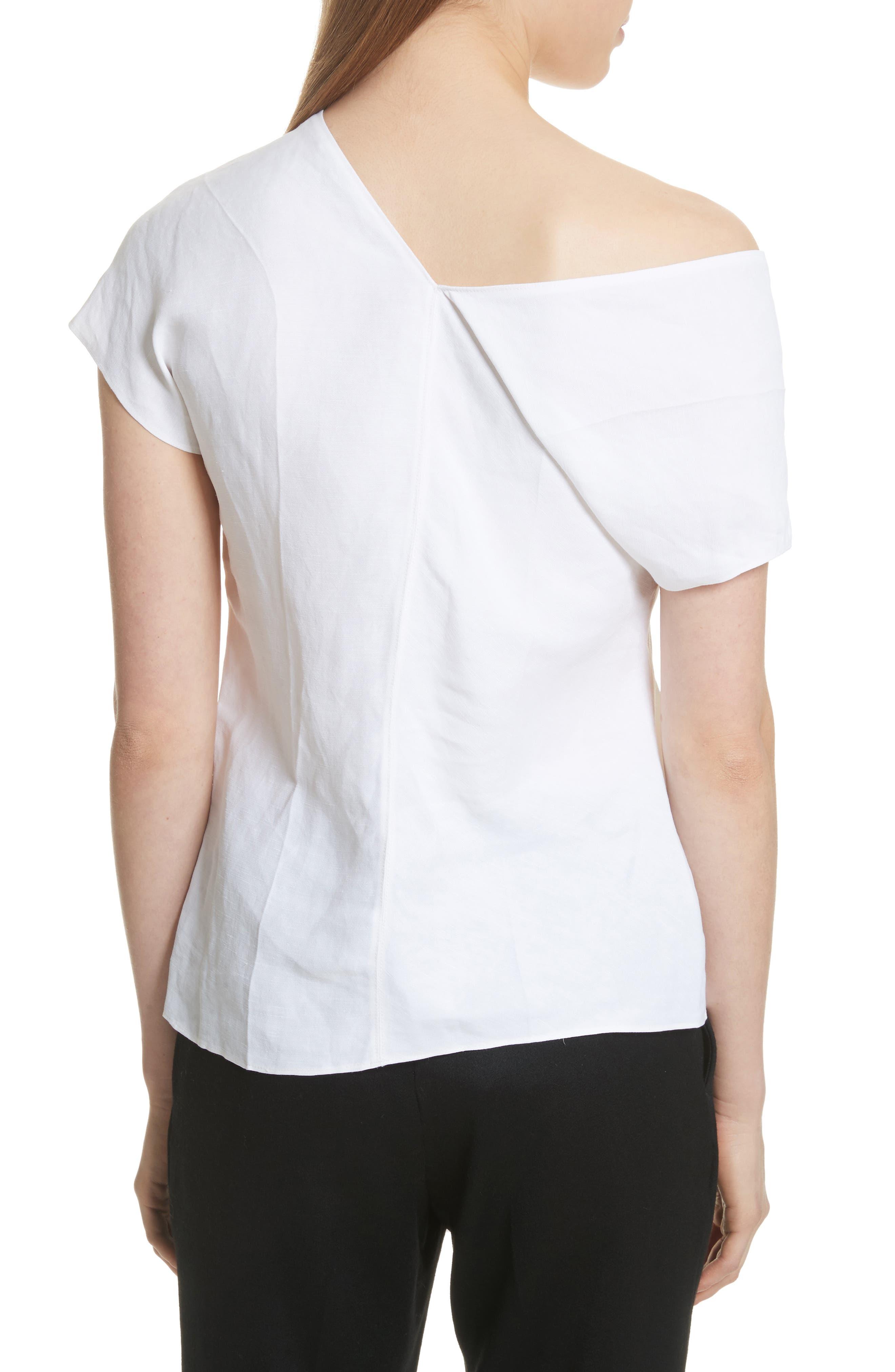 One-Shoulder Linen Blend Top,                             Alternate thumbnail 2, color,                             Optic White