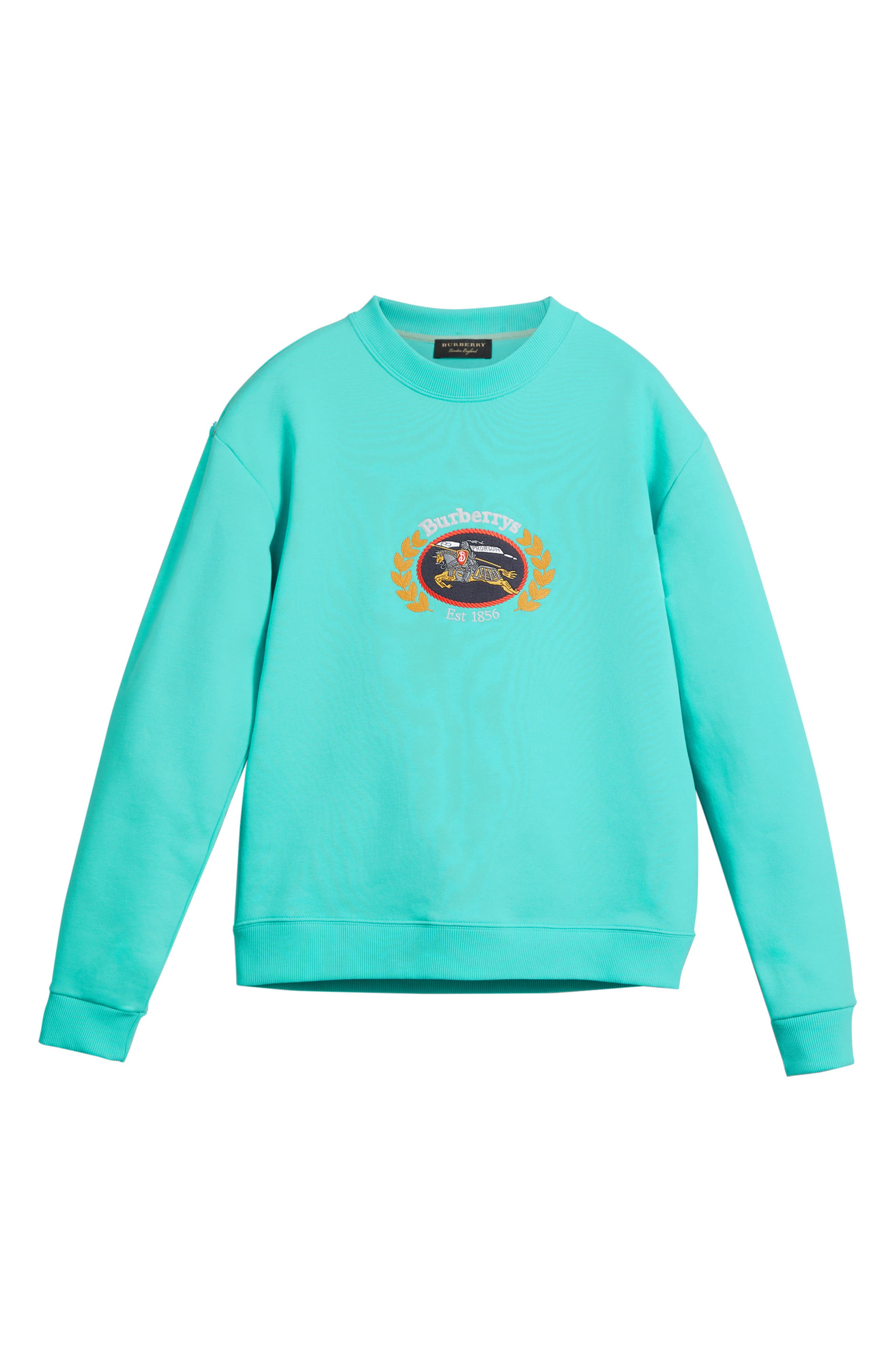 Vintage Crest Sweatshirt,                             Alternate thumbnail 4, color,                             Aqua