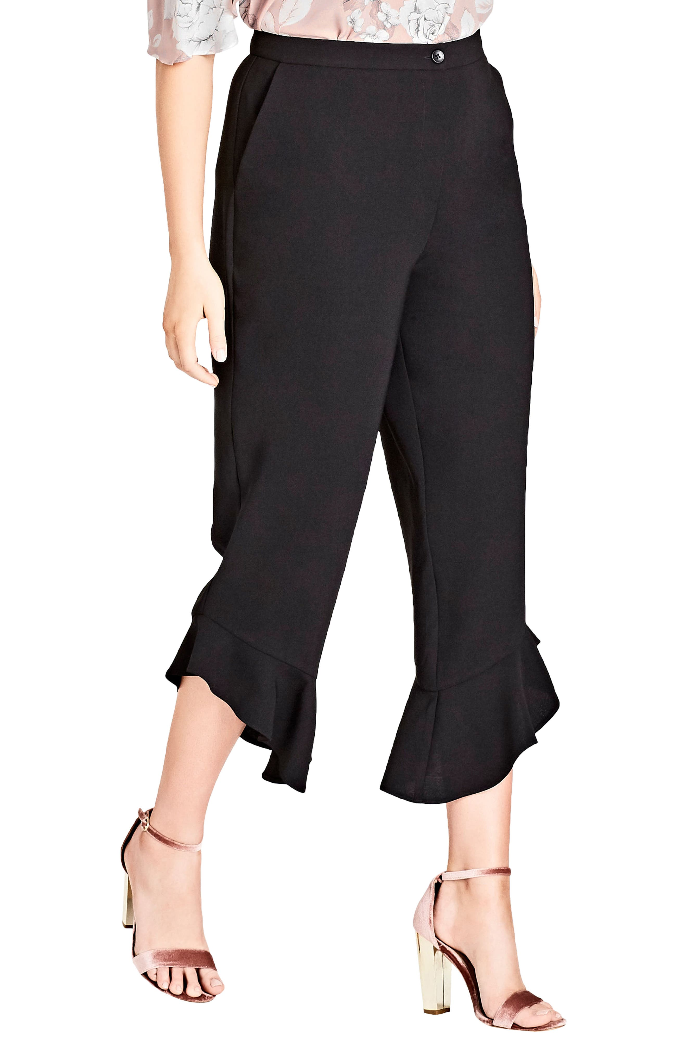 Frilled Crop Pant,                         Main,                         color, Black