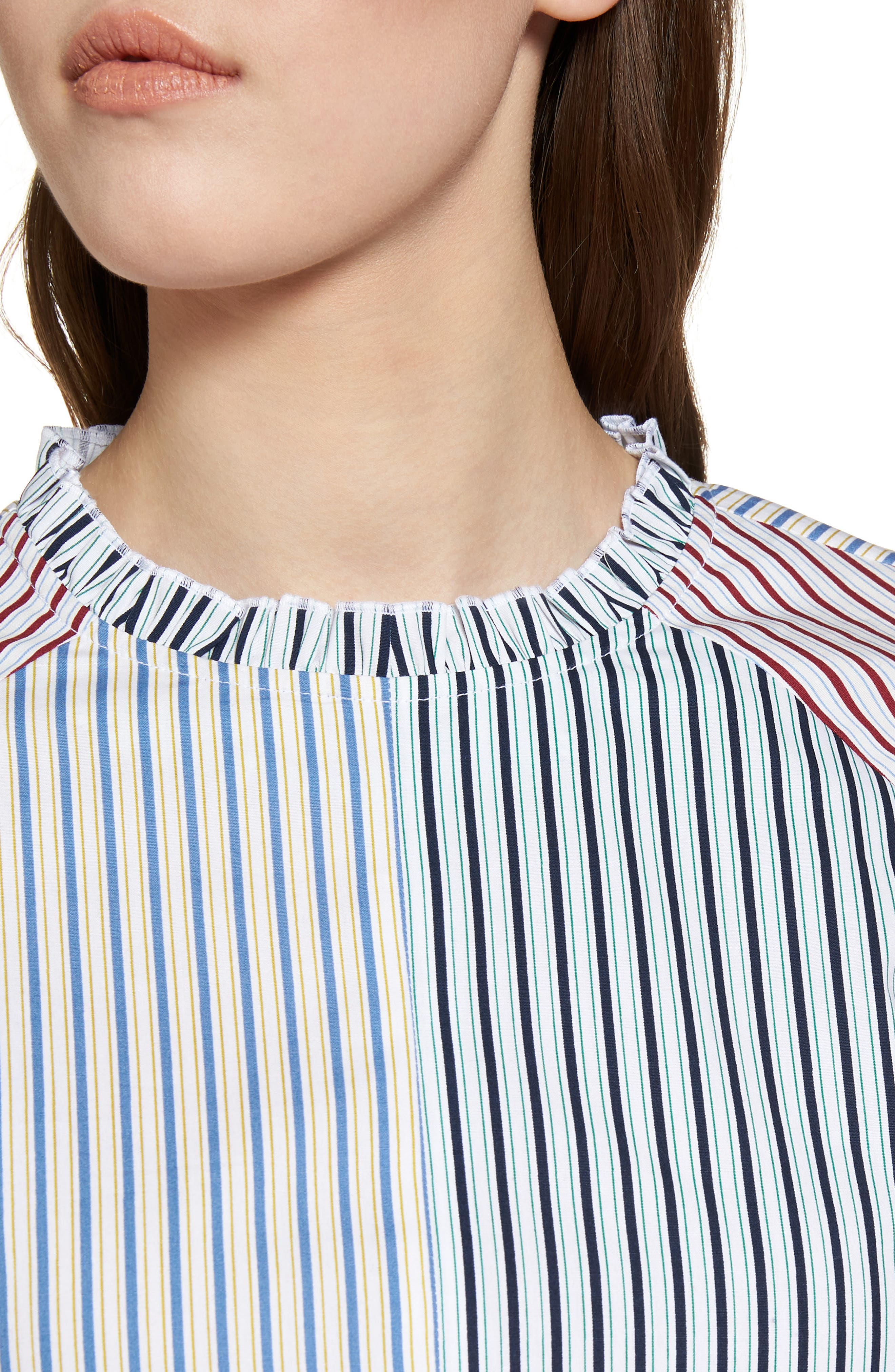 Mixed Stripe Cotton Shirt,                             Alternate thumbnail 4, color,                             White Multi Mix Stripe