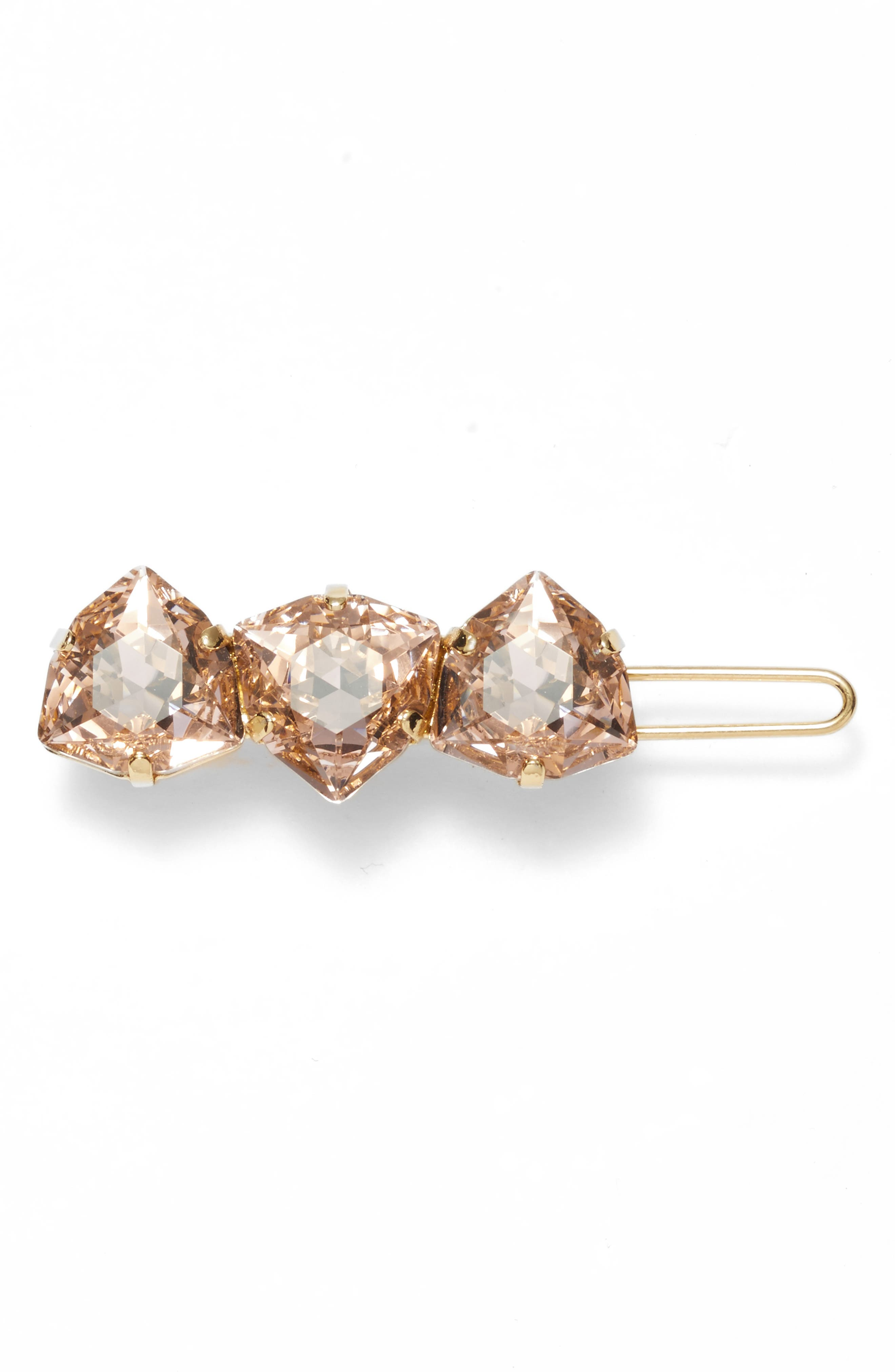 Triple Crystal Tige Boule Barrette,                             Main thumbnail 1, color,                             Vintage Rose/ Gold