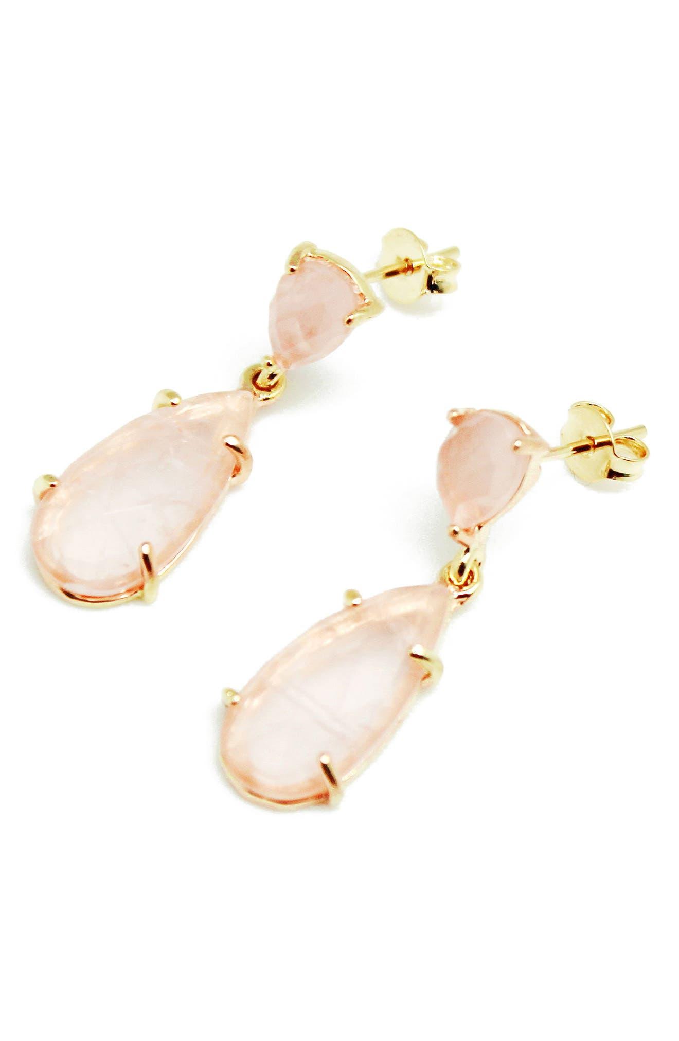Stone Teardrop Earrings,                         Main,                         color, Rose