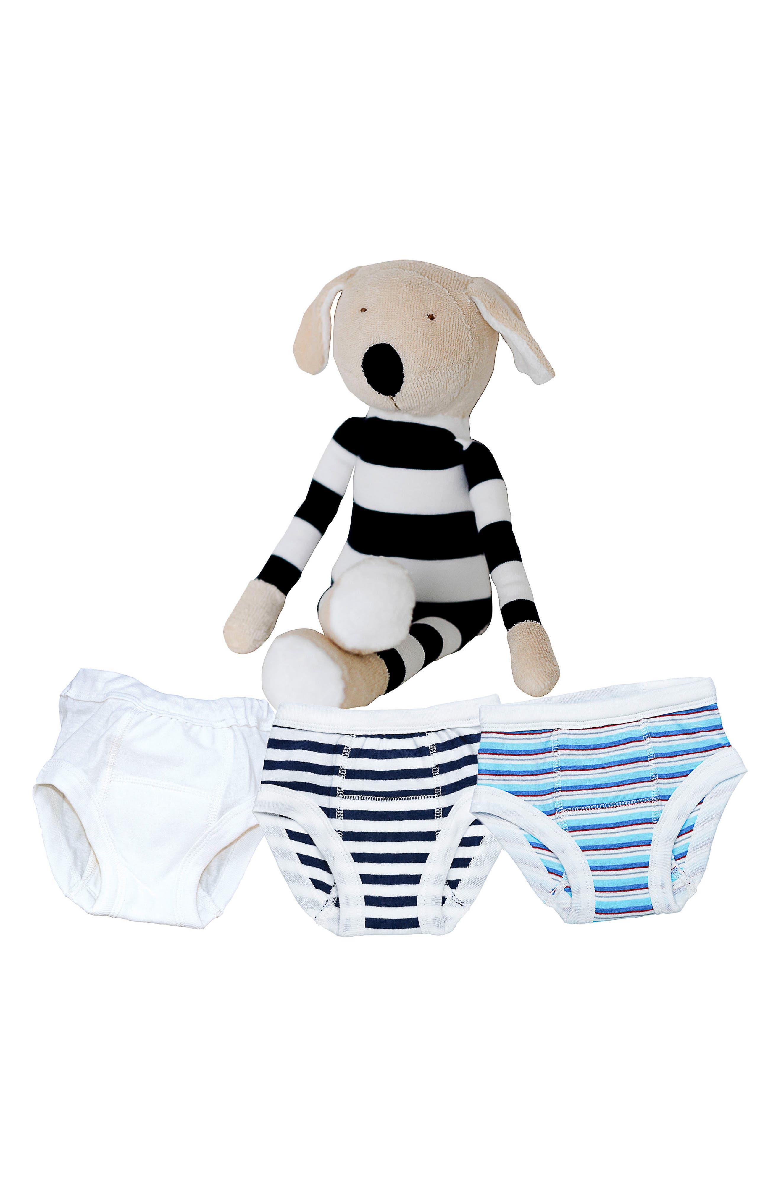 Main Image - Under the Nile 4-Piece Training Pants & Buddy Stuffed Animal Set