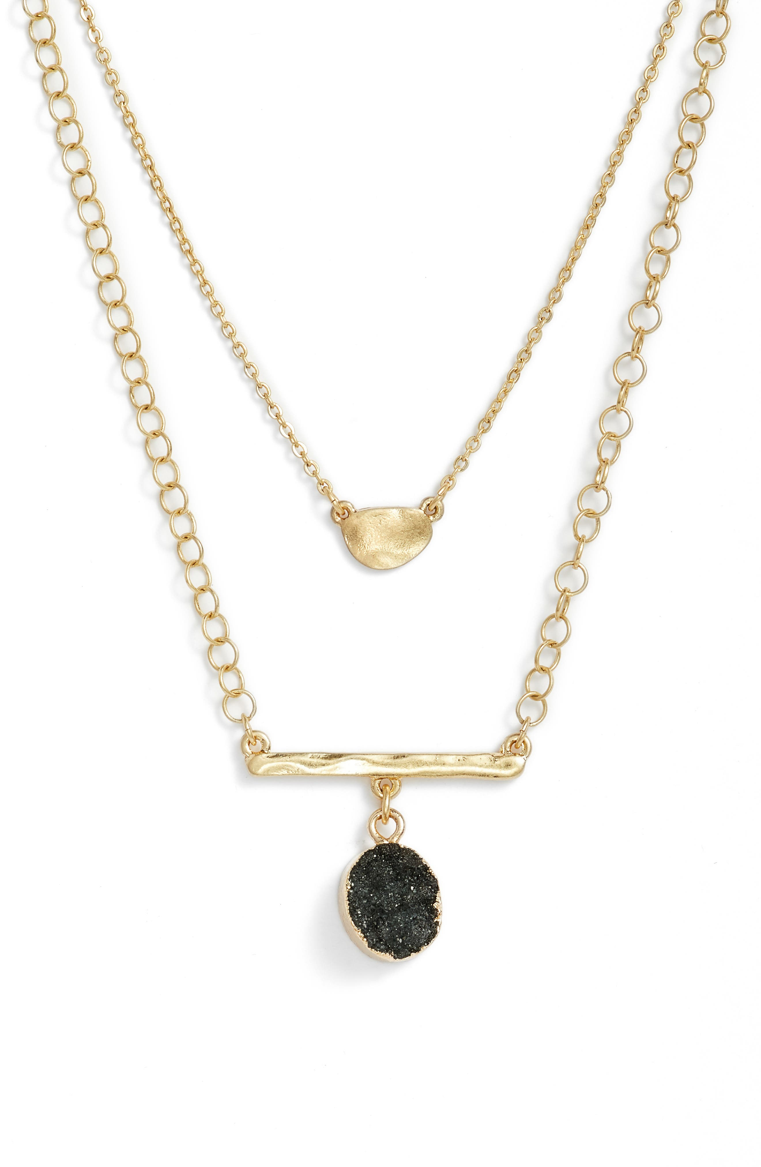Treasure & Bond Double Drusy Bar Pendant Necklace