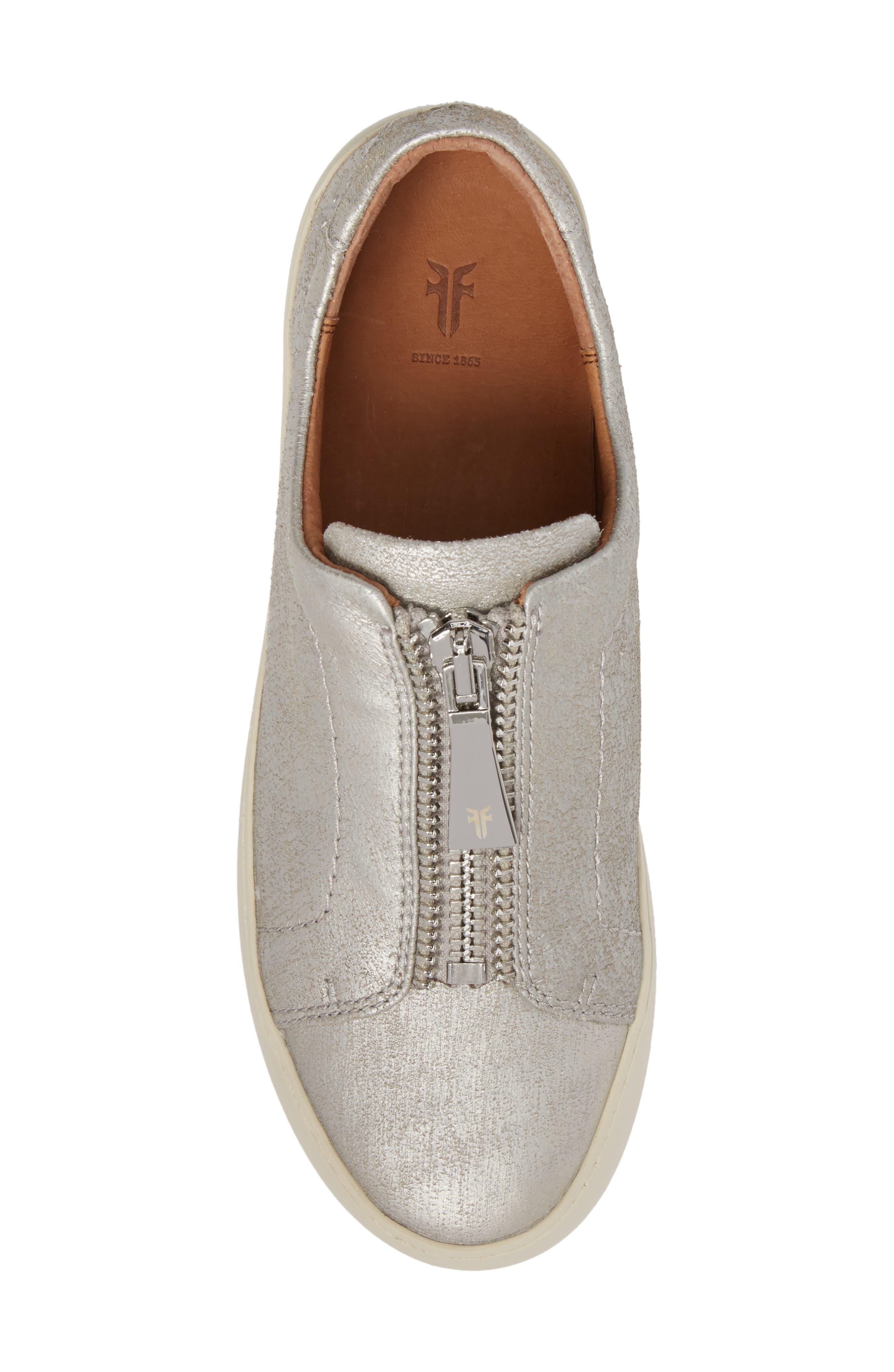 Lena Zip Sneaker,                             Alternate thumbnail 5, color,                             Silver Leather