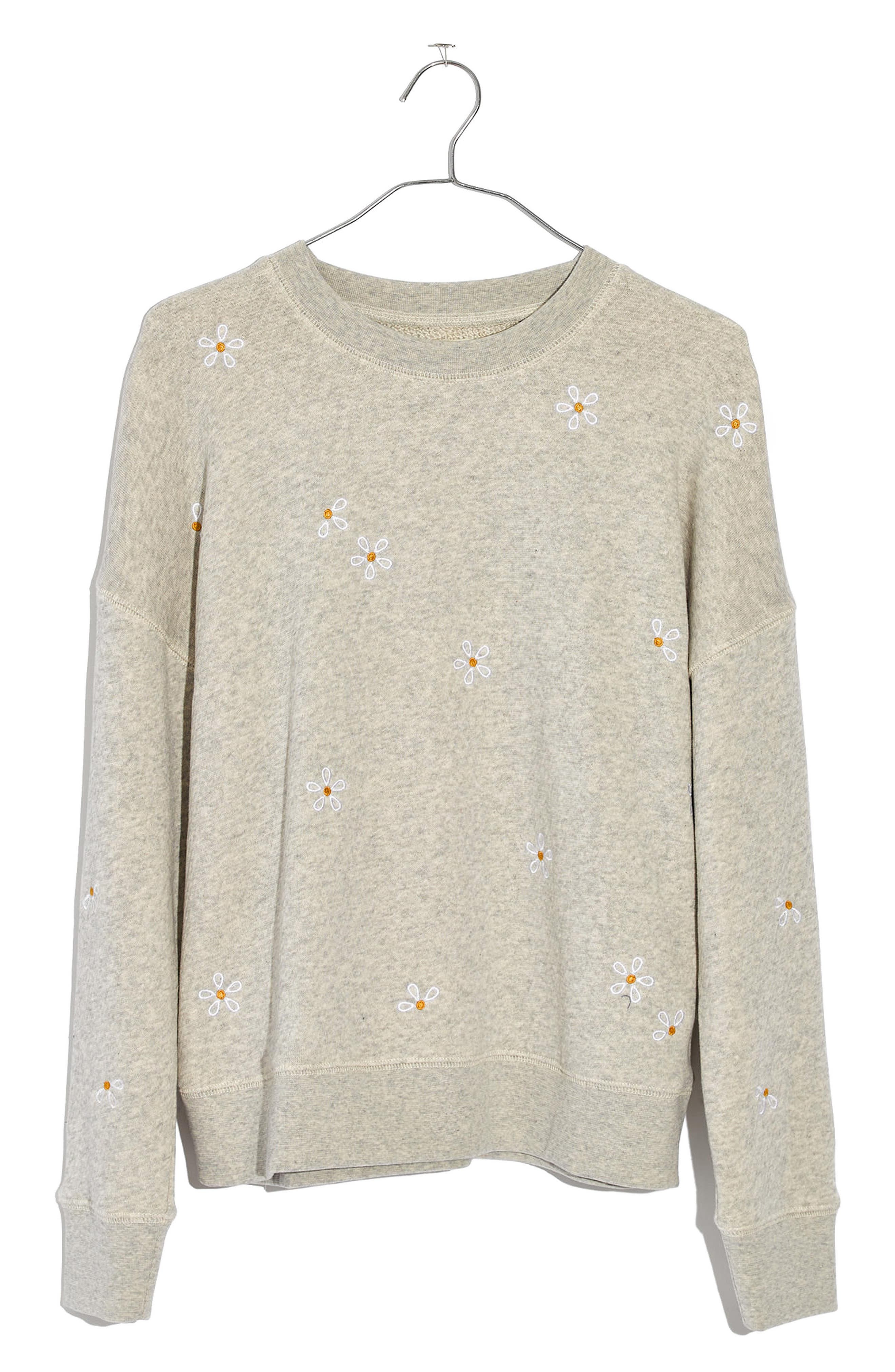 Daisy Embroidered Sweatshirt,                             Alternate thumbnail 4, color,                             Hthr Pearl