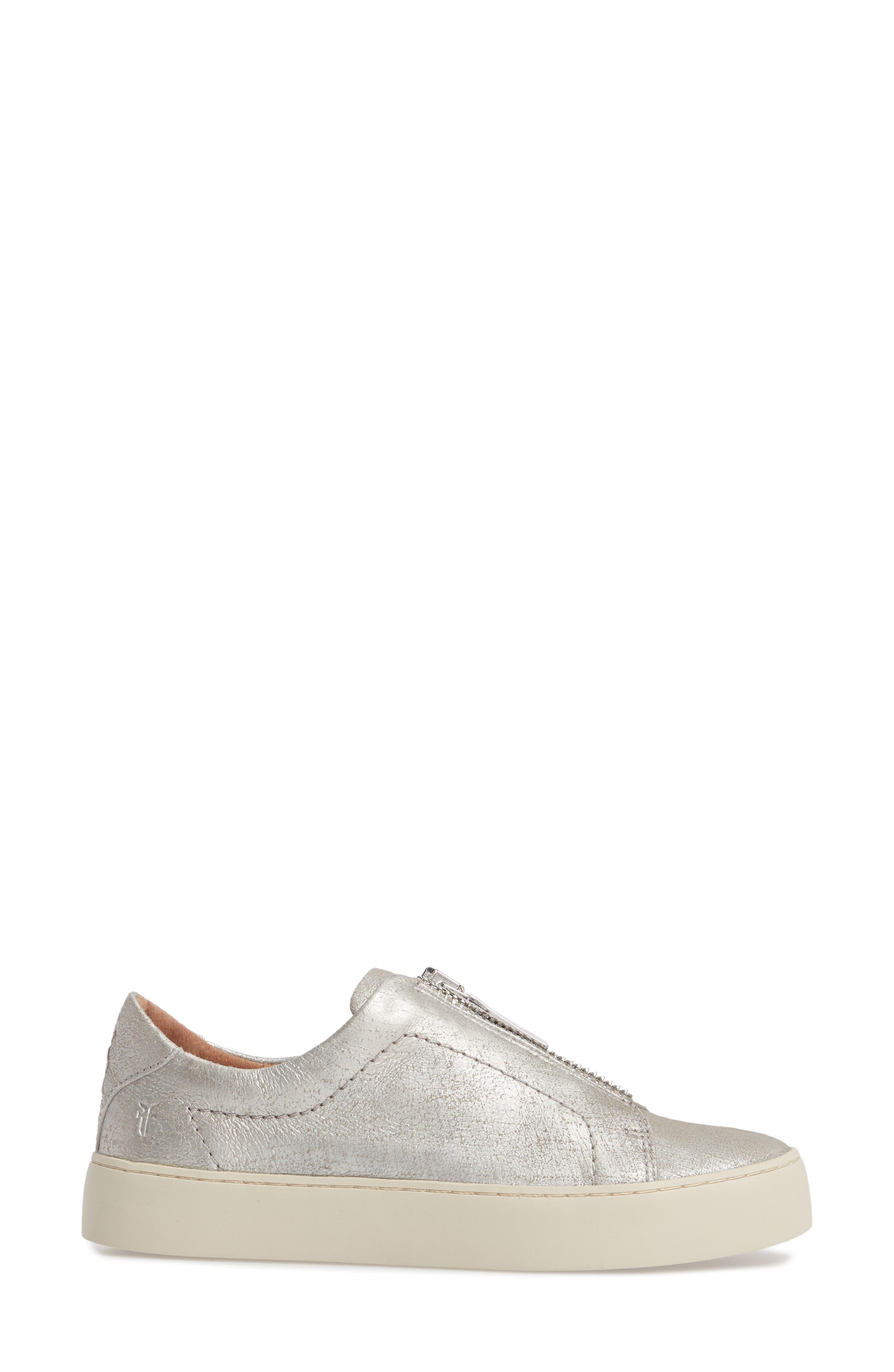 Lena Zip Sneaker,                             Alternate thumbnail 3, color,                             Silver Leather
