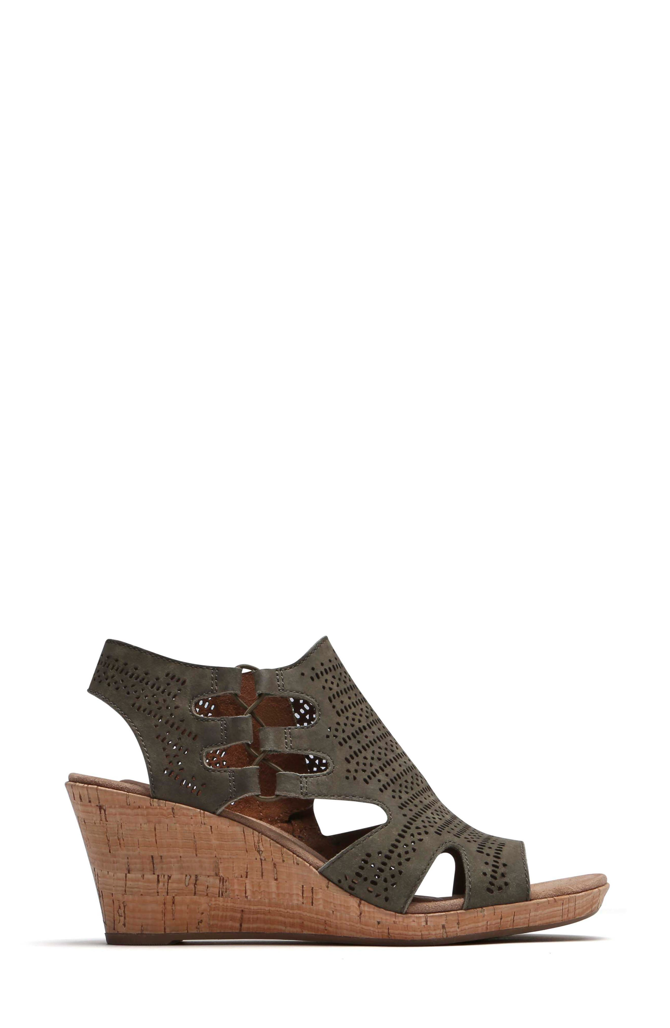 Janna Perforated Wedge Sandal,                             Alternate thumbnail 3, color,                             Green Nubuck Leather