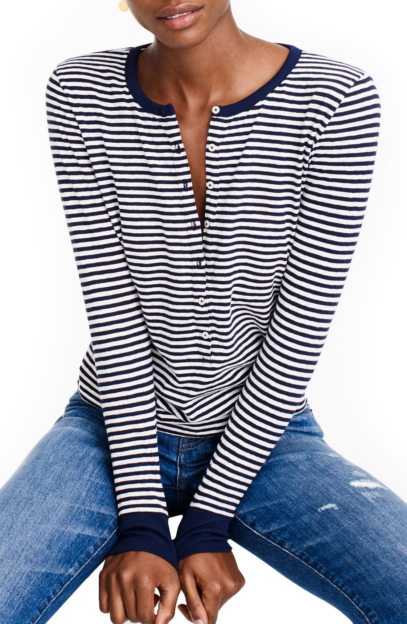 Stripe Henley,                         Main,                         color, Navy Ivory