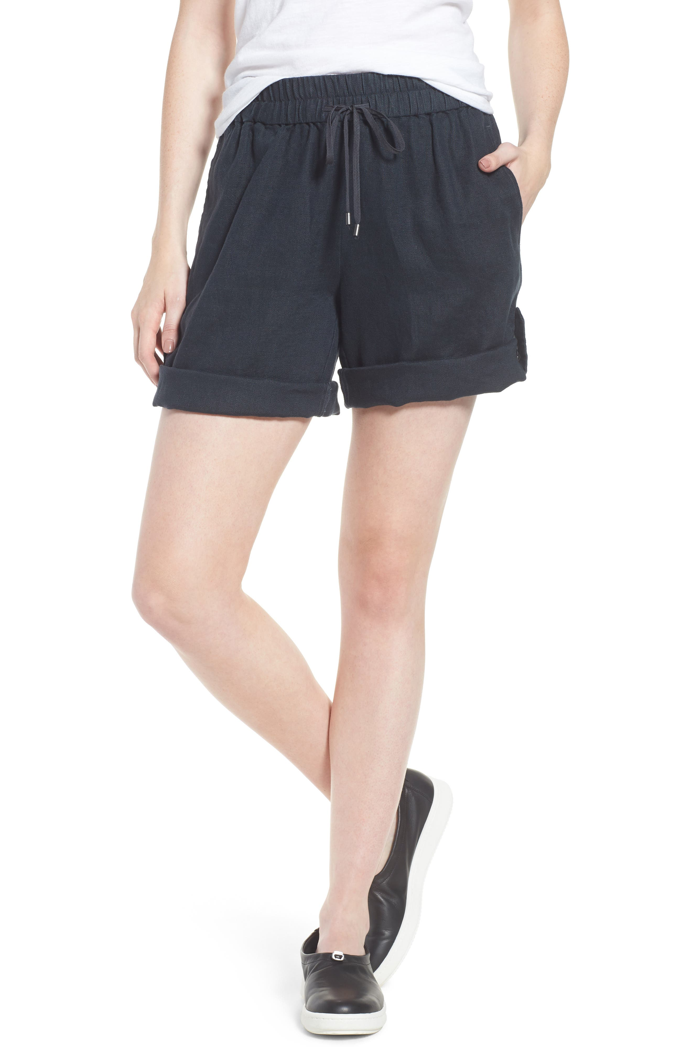 Rolled Organic Linen Shorts,                         Main,                         color, Graphite