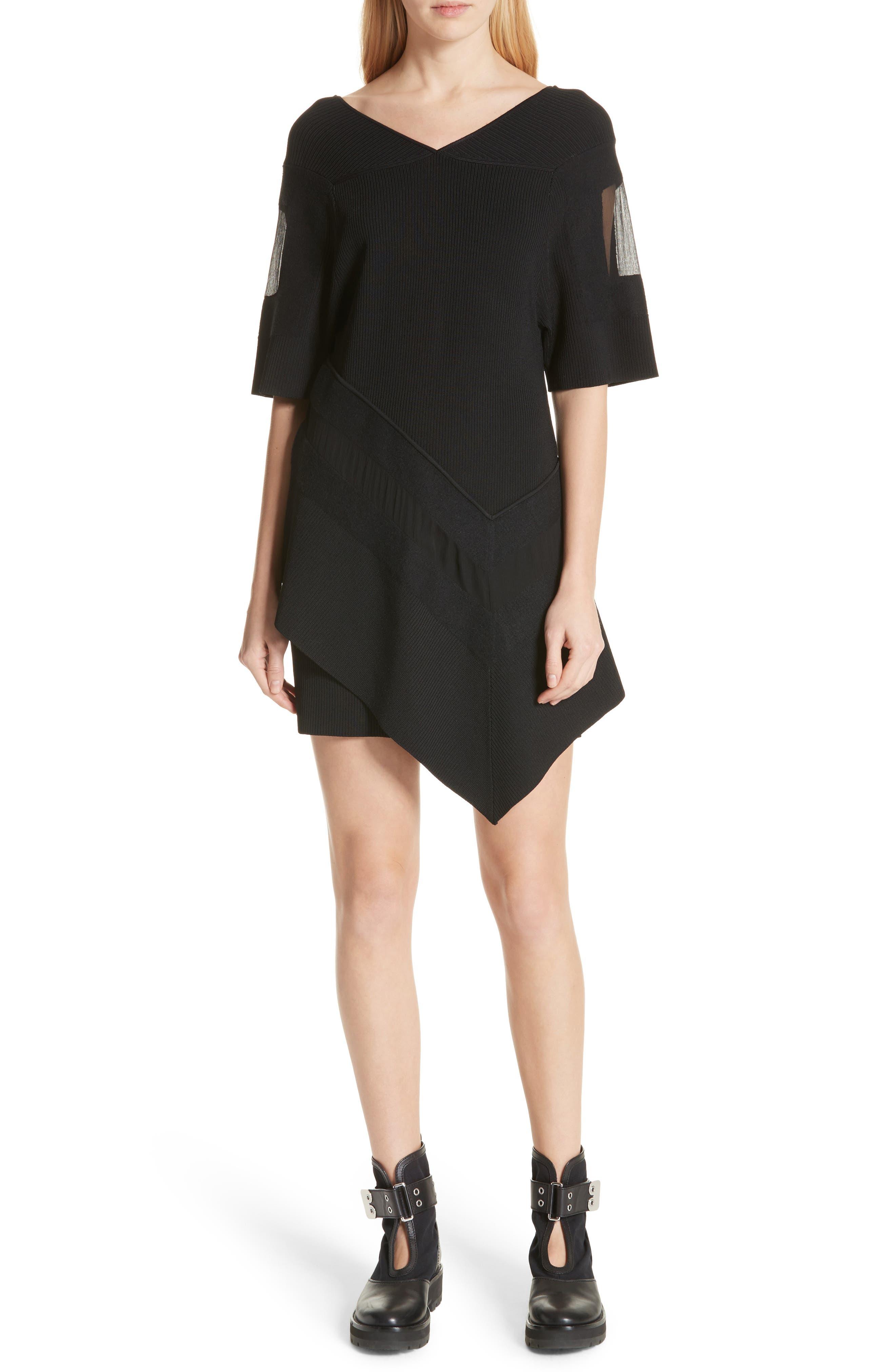 Handkerchief Hem Knit Dress,                             Main thumbnail 1, color,                             Black
