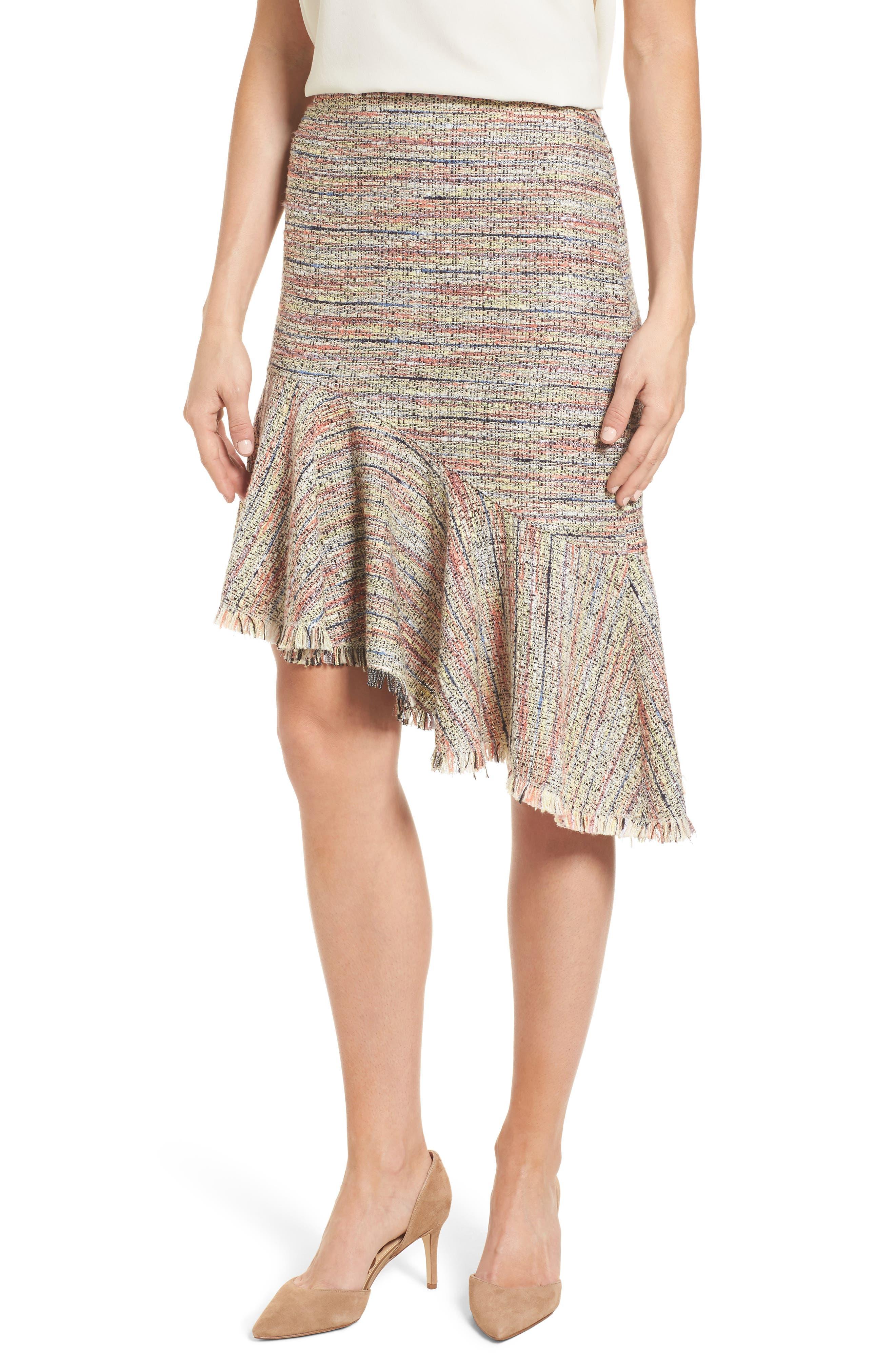 Halogen® Tweed Ruffle Skirt (Regular & Petite)