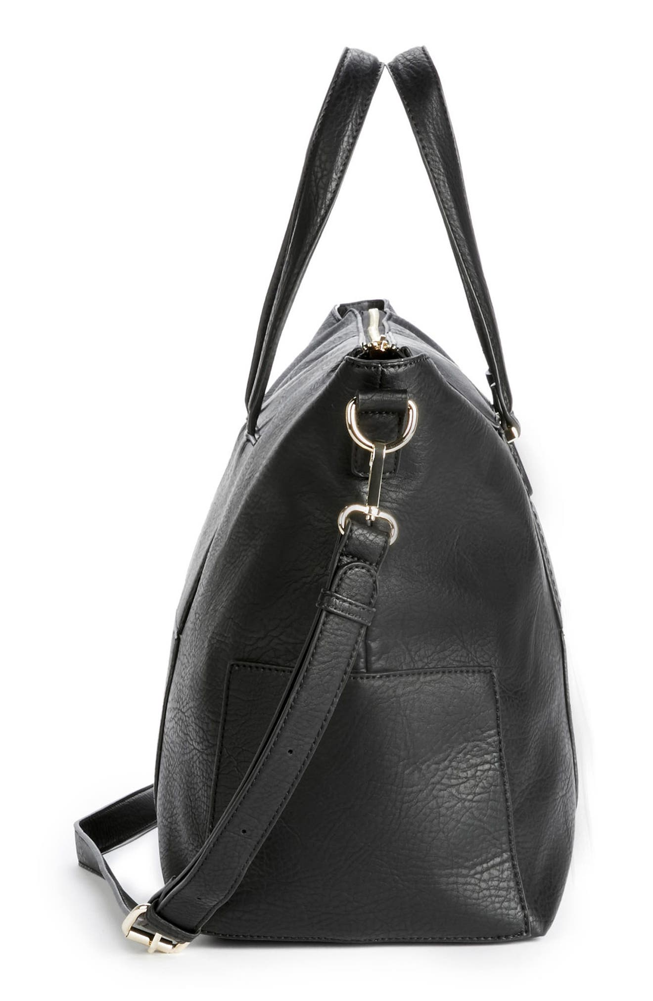 Cory Faux Leather Travel Tote,                             Alternate thumbnail 5, color,                             Black