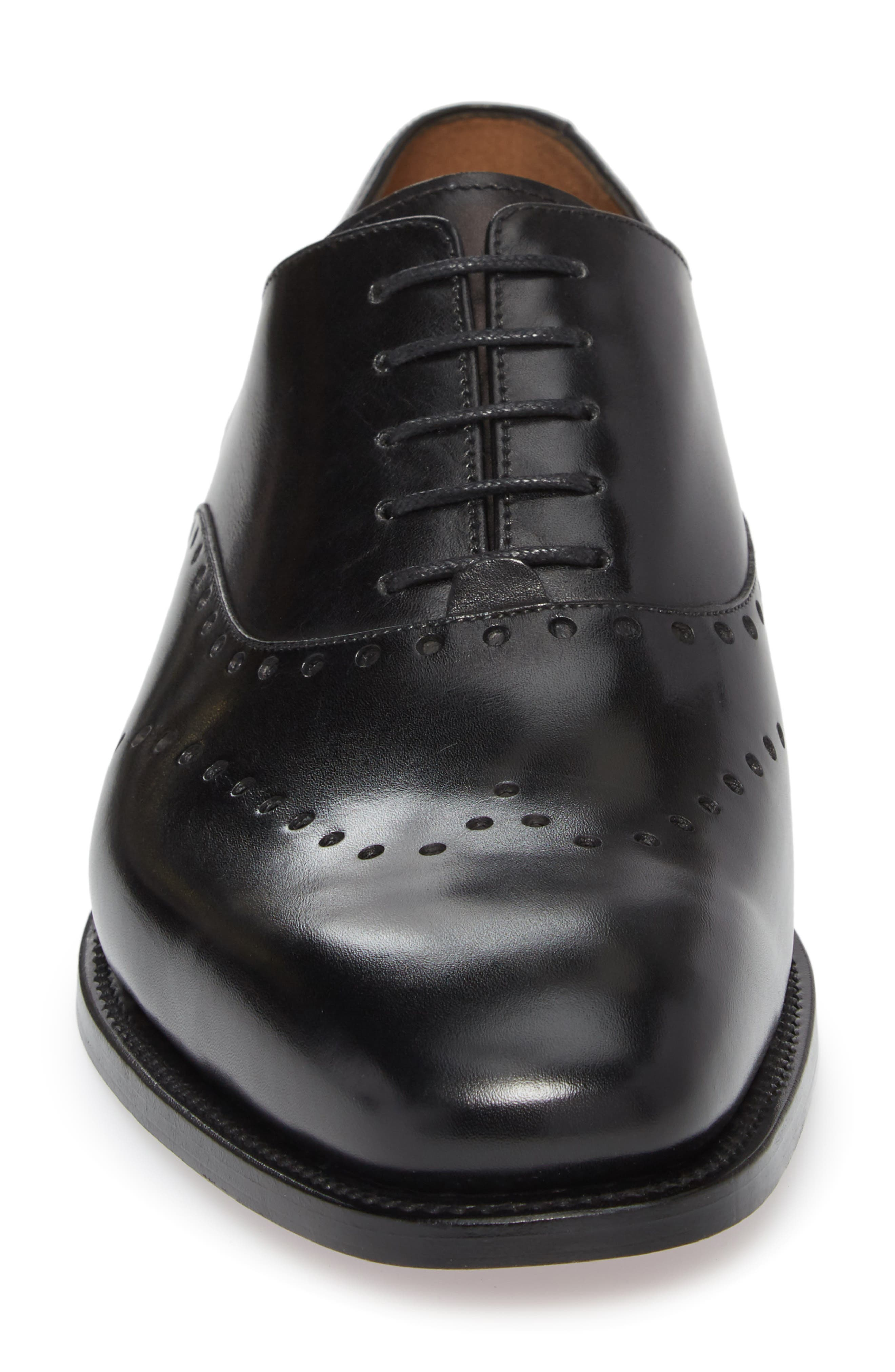 Belvedere Perforated Wingtip Oxford,                             Alternate thumbnail 4, color,                             Black