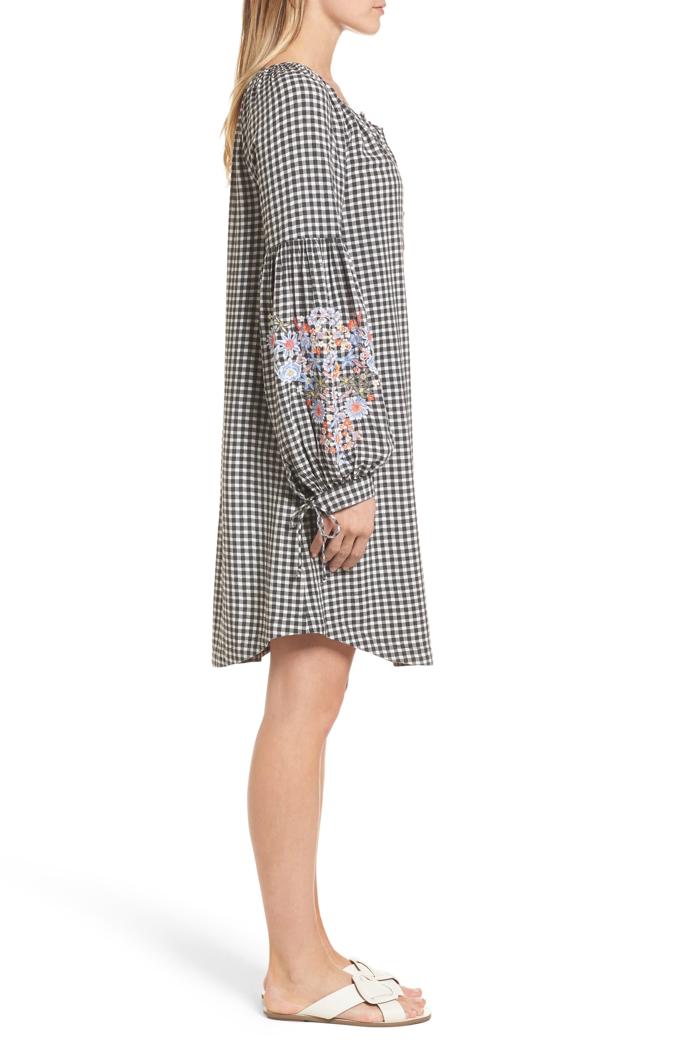 Embroidered Sleeve Shift Dress,                             Alternate thumbnail 3, color,                             Black-White Gingham