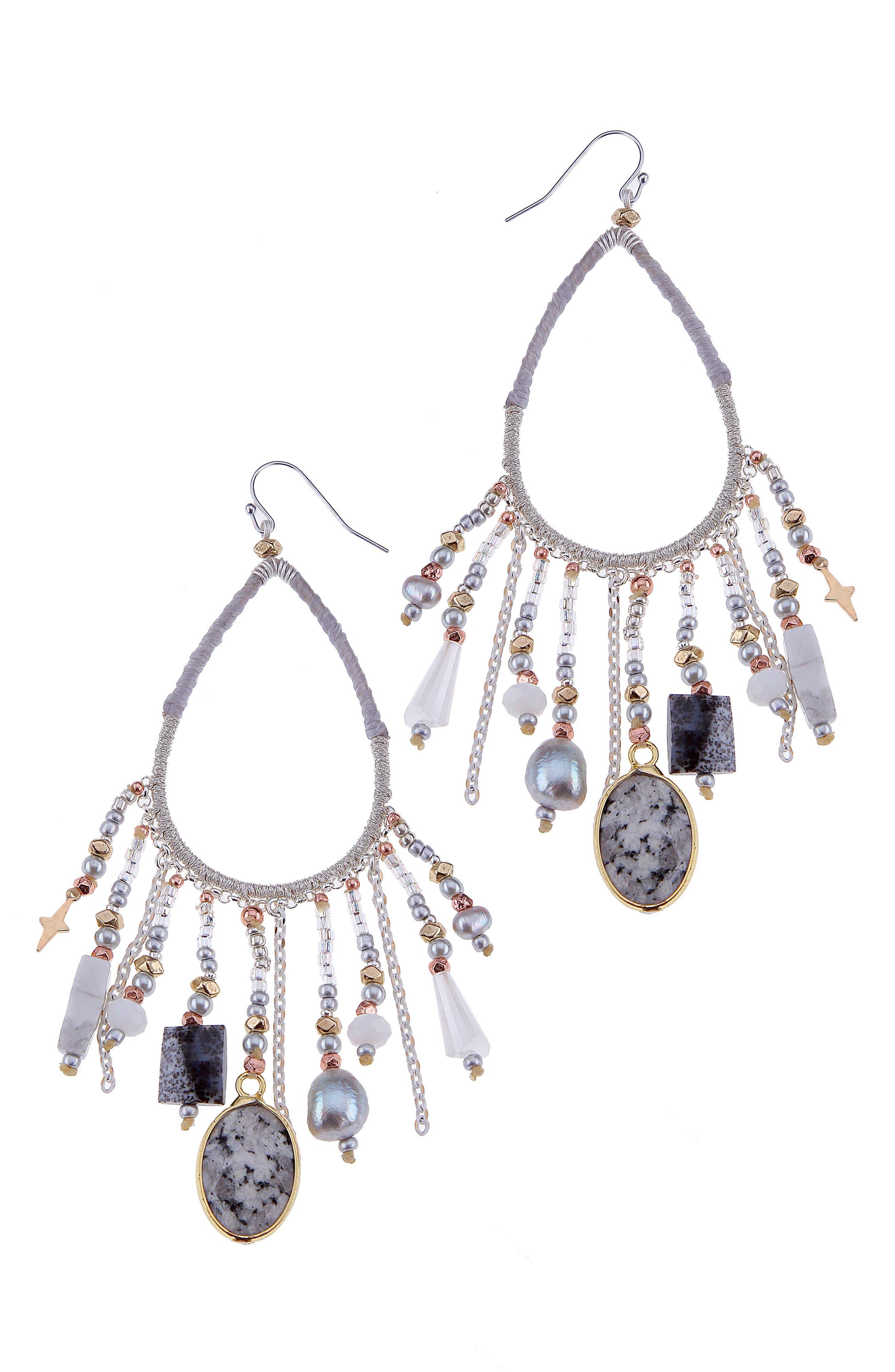 Stone & Star Charm Earrings,                         Main,                         color, Grey