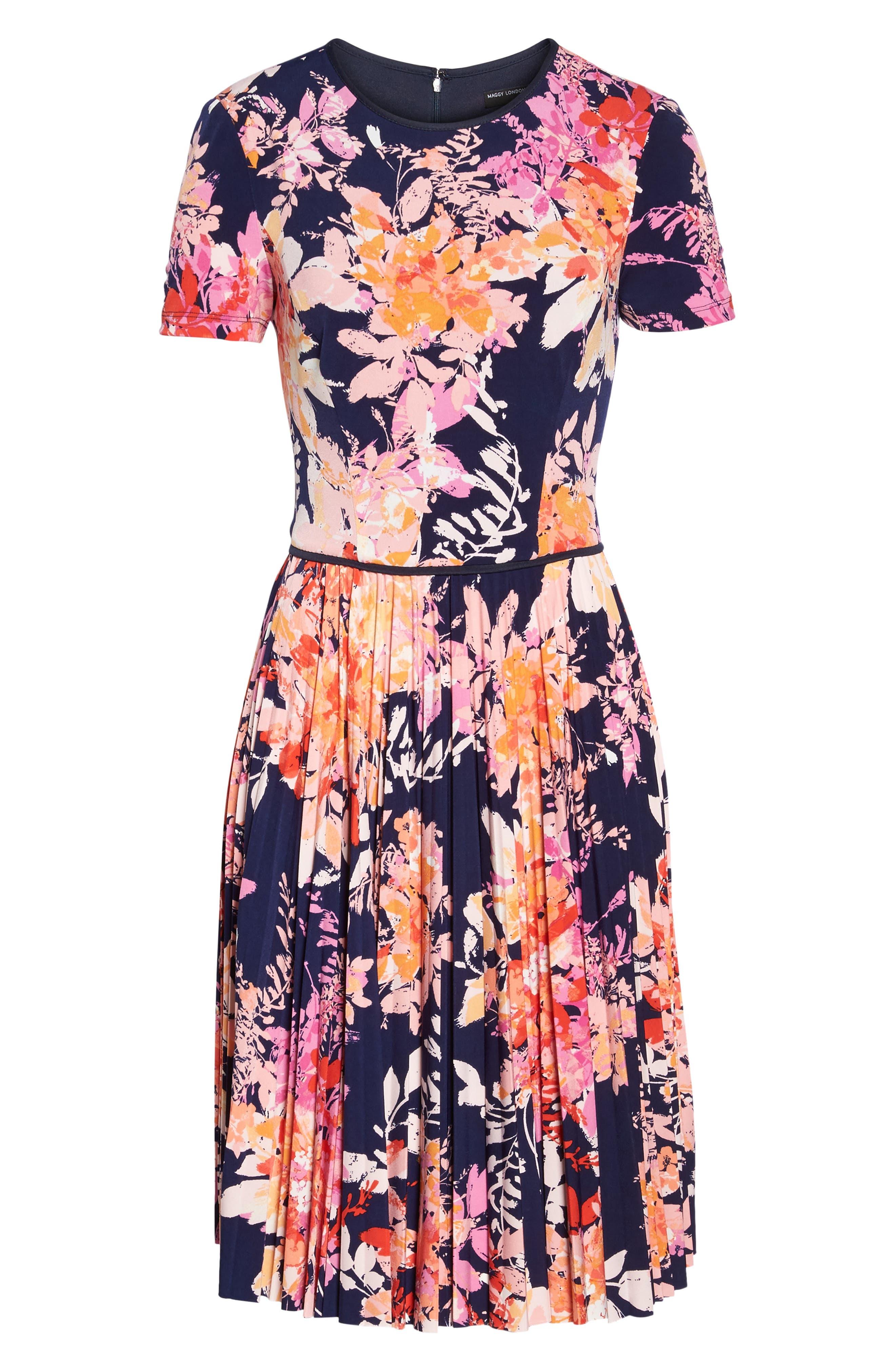 Pleat Fit & Flare Dress,                             Alternate thumbnail 6, color,                             Navy/ Orange
