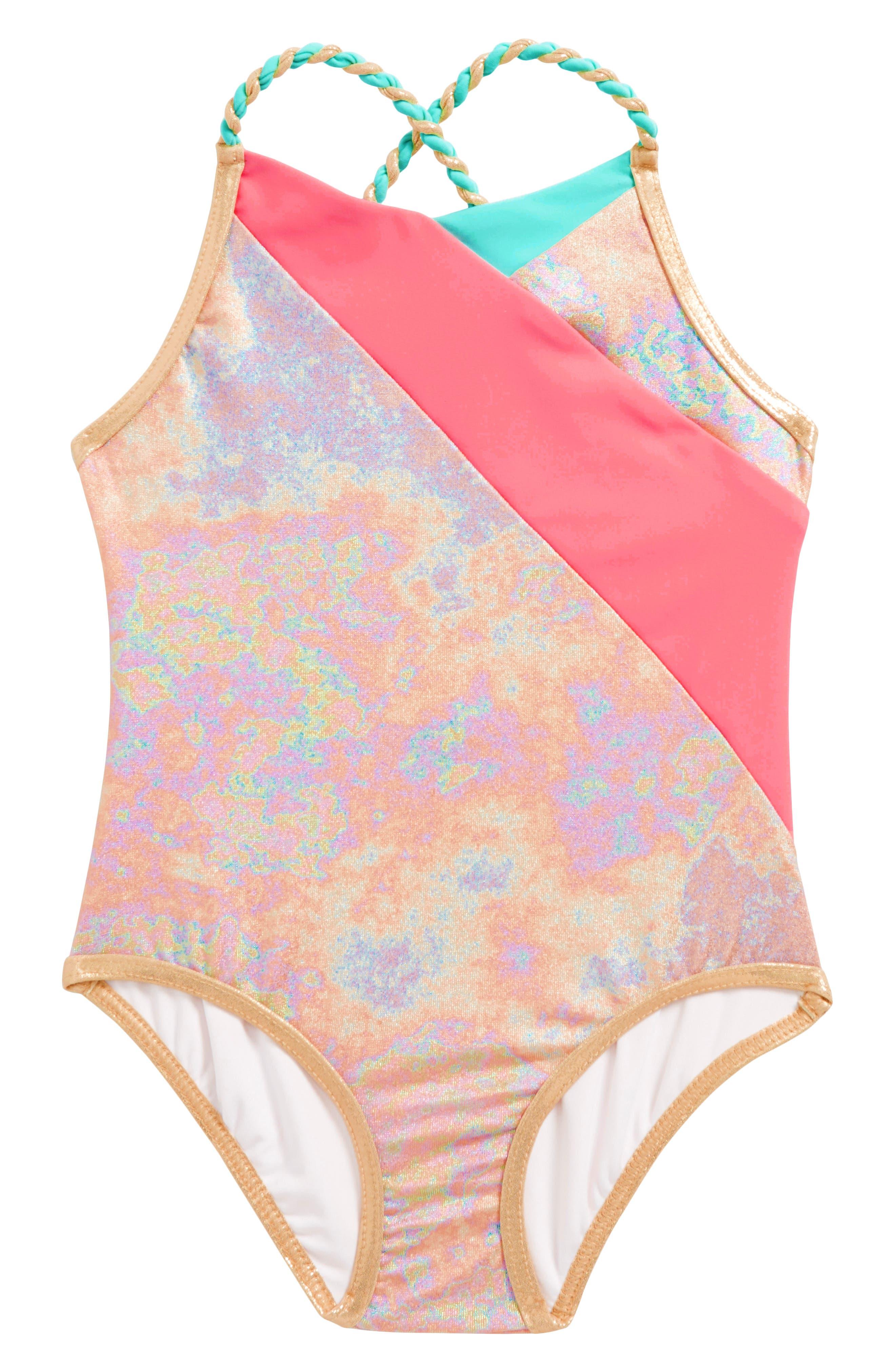 LITTLE MARC JACOBS Iridescent One-Piece Swimsuit (Toddler Girls, Little Girls & Big Girls)