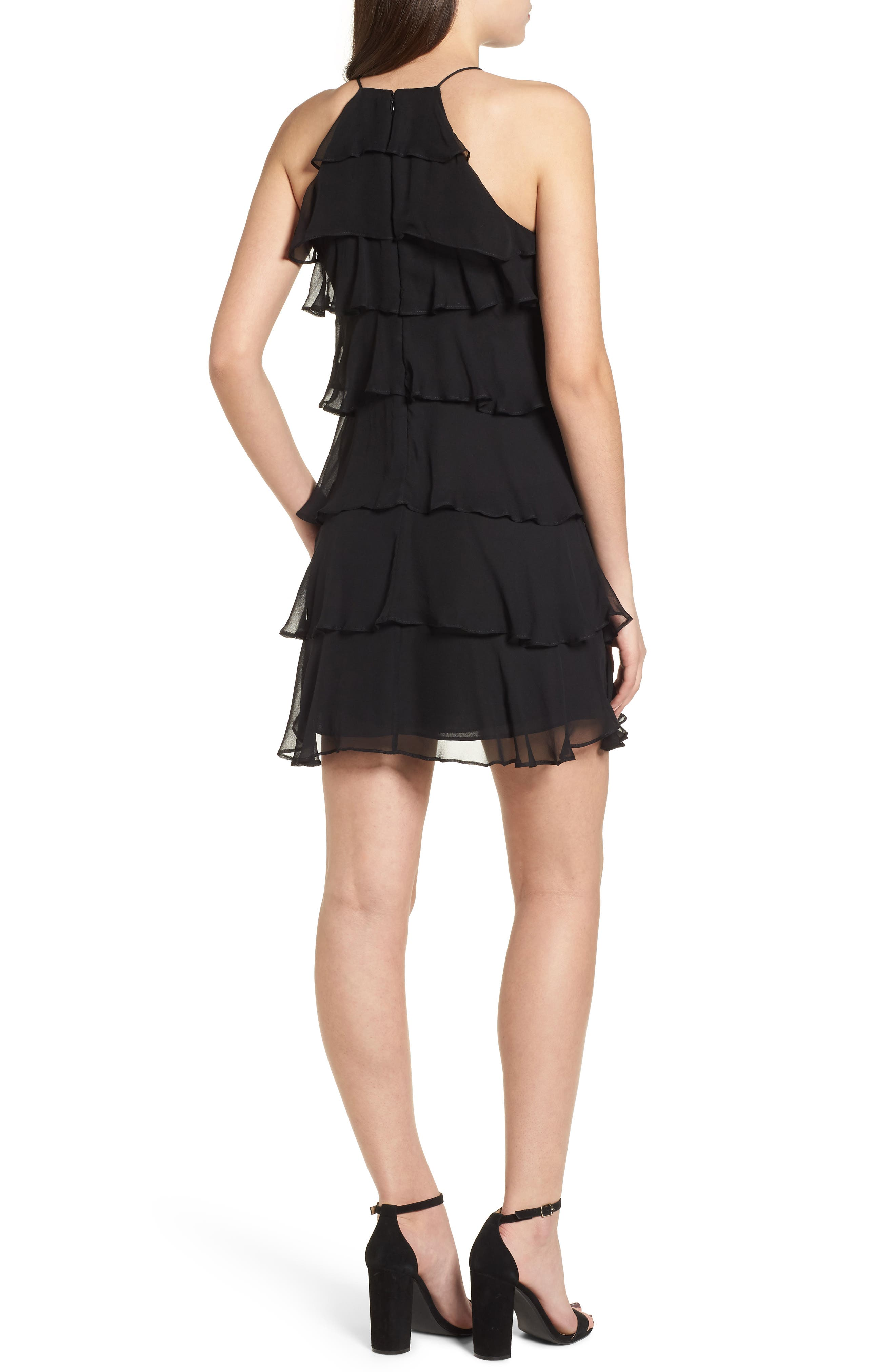 Delectable Tiered Silk Dress,                             Alternate thumbnail 2, color,                             Black