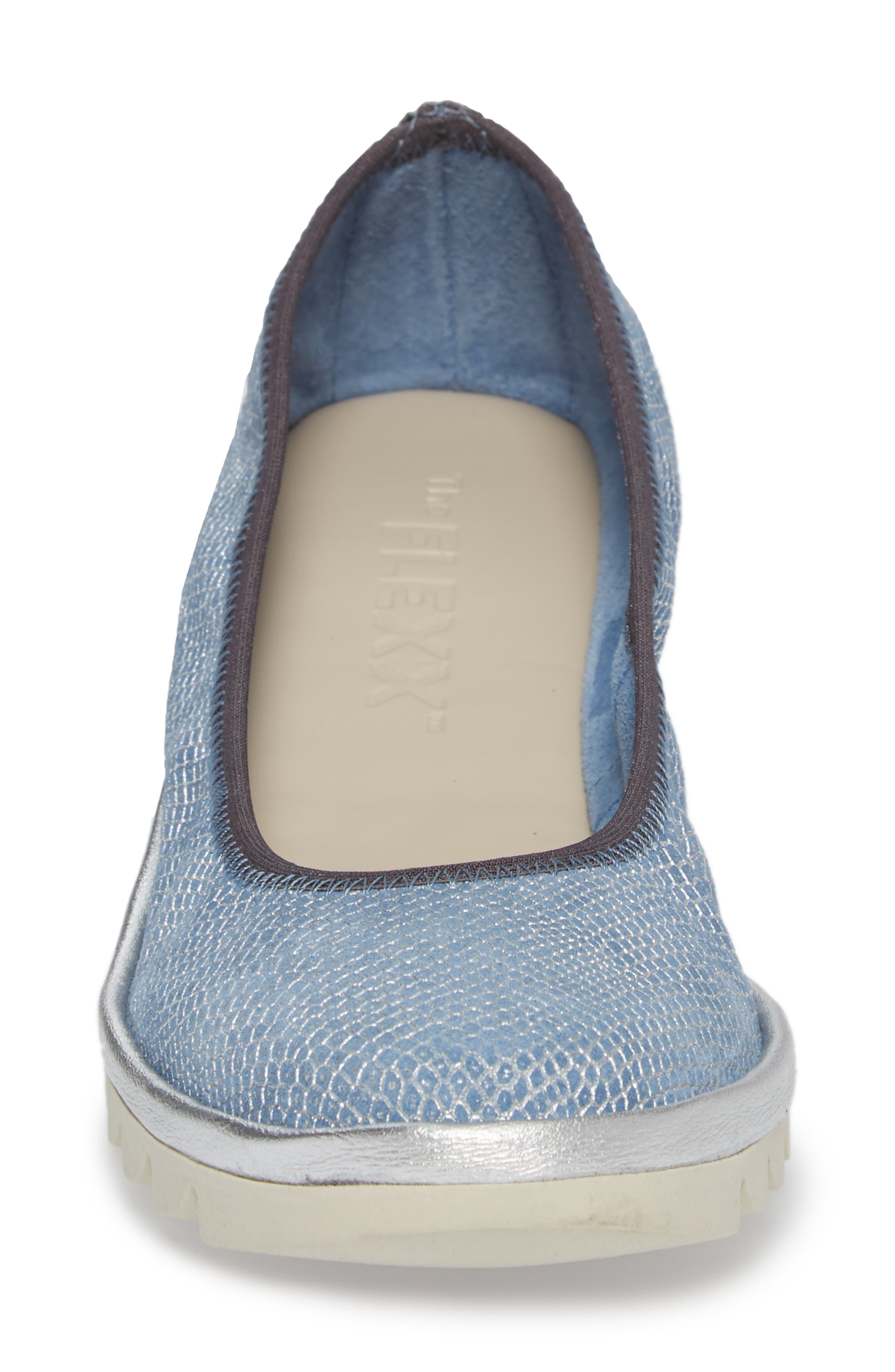 Mel A Drama Wedge Skimmer,                             Alternate thumbnail 4, color,                             Denim Leather