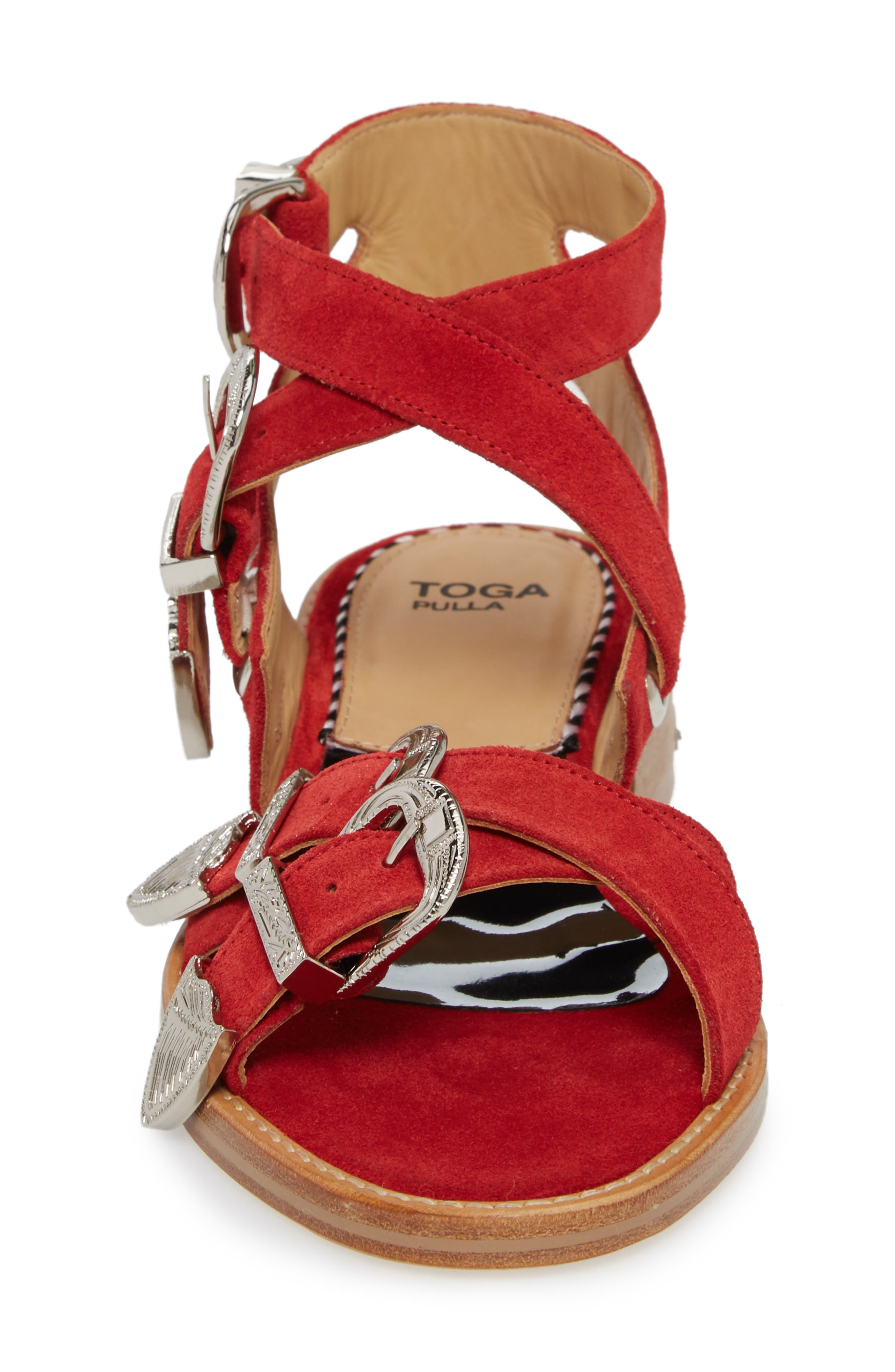 Western Suede Strappy Sandal,                             Alternate thumbnail 4, color,                             Red Suede