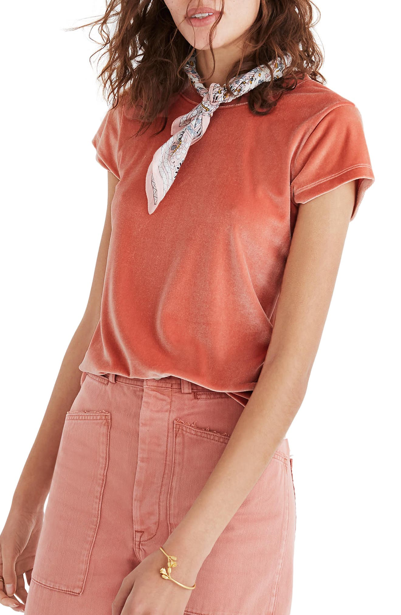 Velour Tee,                         Main,                         color, Light Pink