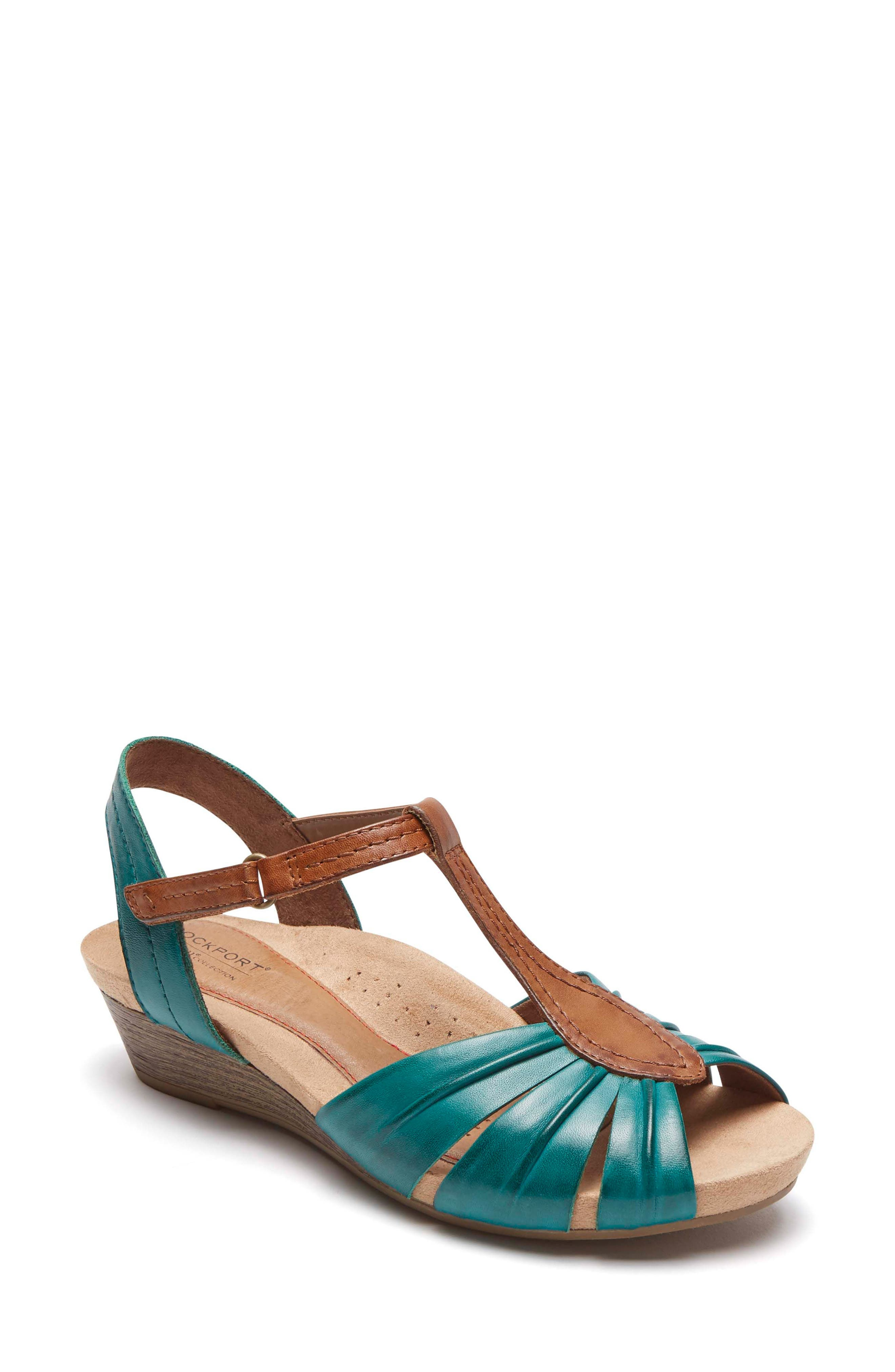 Hollywood Pleat Wedge Sandal,                         Main,                         color, Lagoon Leather