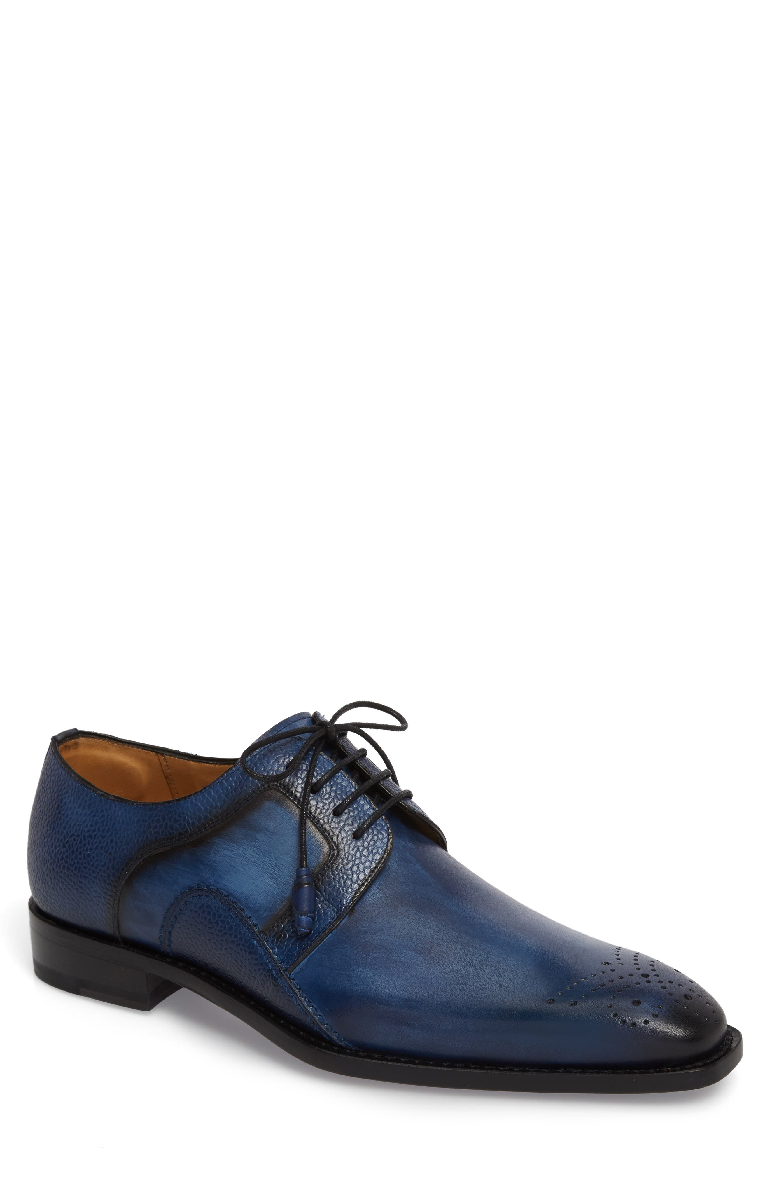 Saturno Medallion Toe Derby,                         Main,                         color, Mid Blue Leather