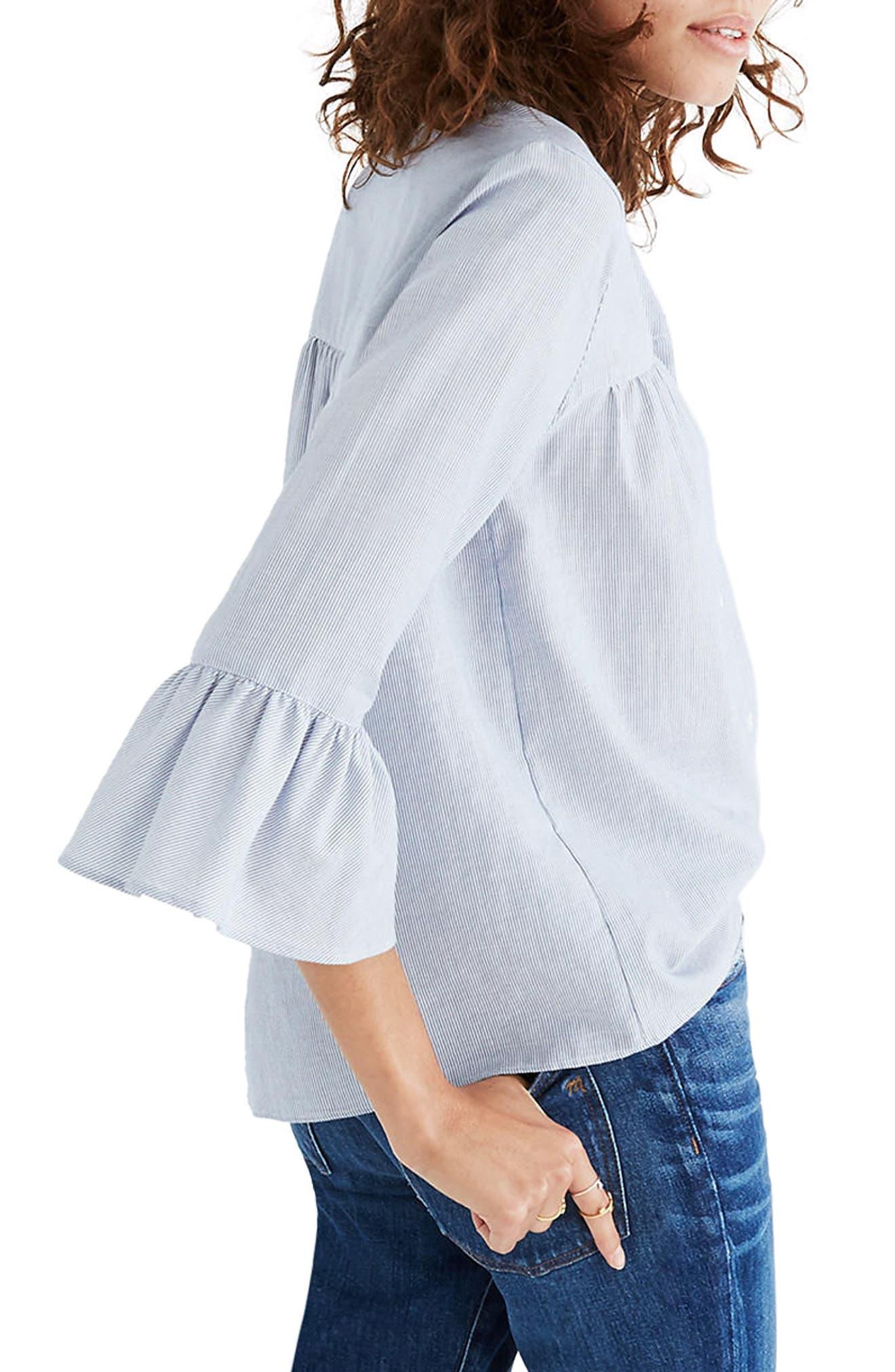 Veranda Bell Sleeve Shirt,                             Alternate thumbnail 2, color,                             Royal Blue