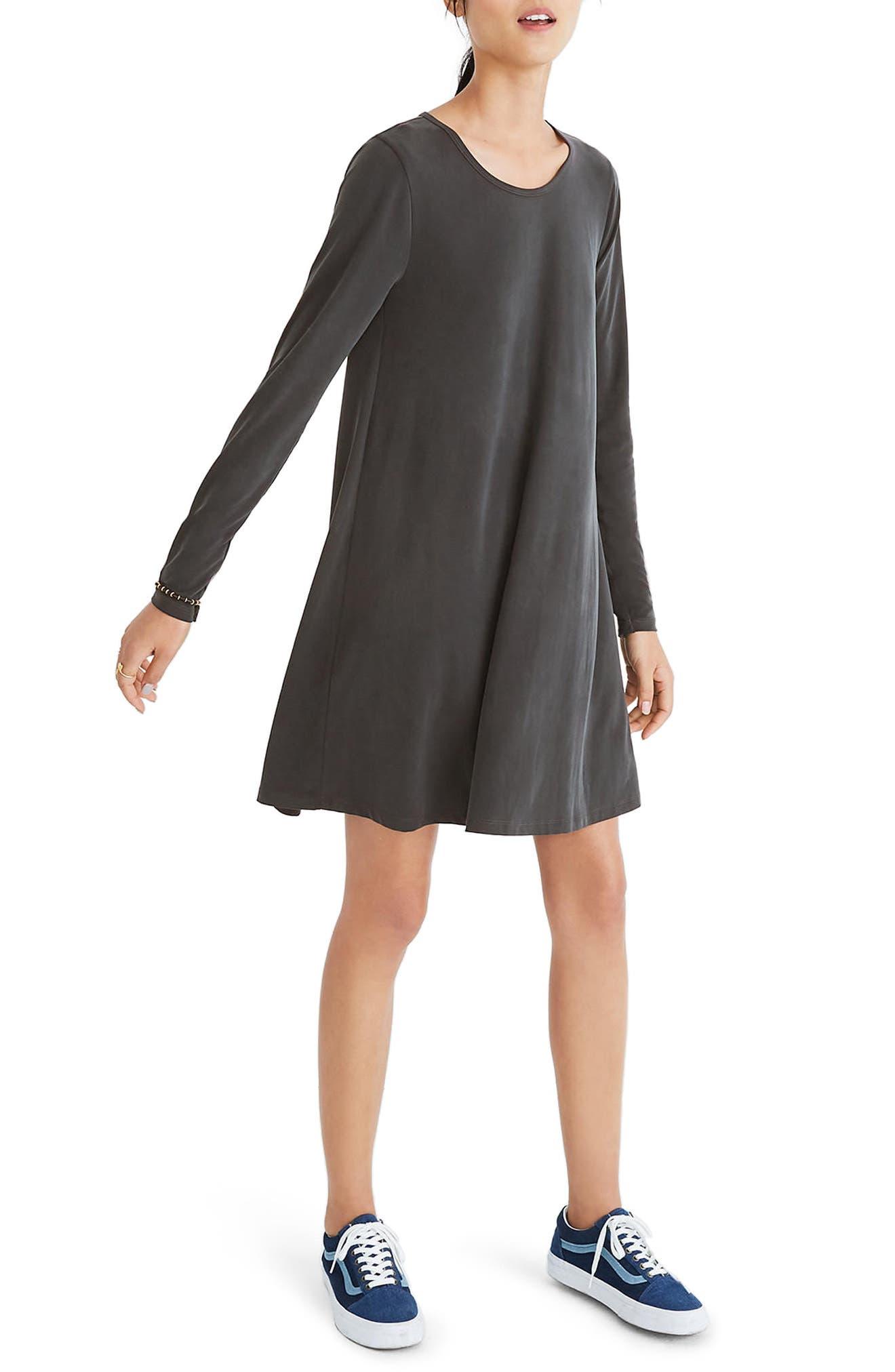 Sandwashed Swingy T-Shirt Dress,                         Main,                         color, True Black
