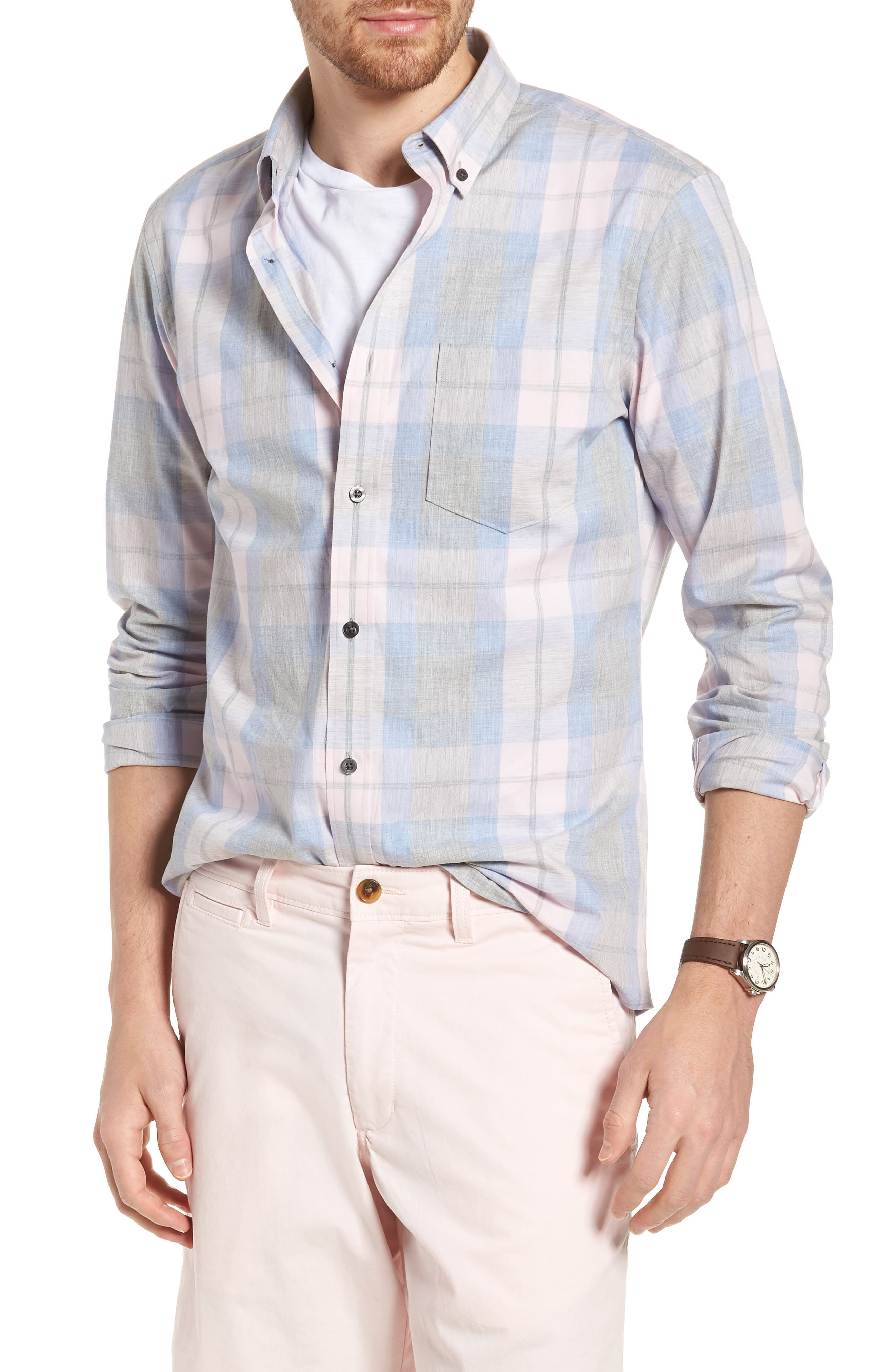 1901 Trim Fit Plaid Sport Shirt