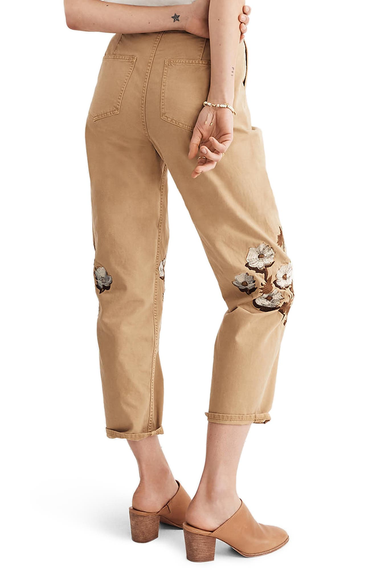 Embroidered Tapered Crop Pants,                             Alternate thumbnail 2, color,                             Honey Brown