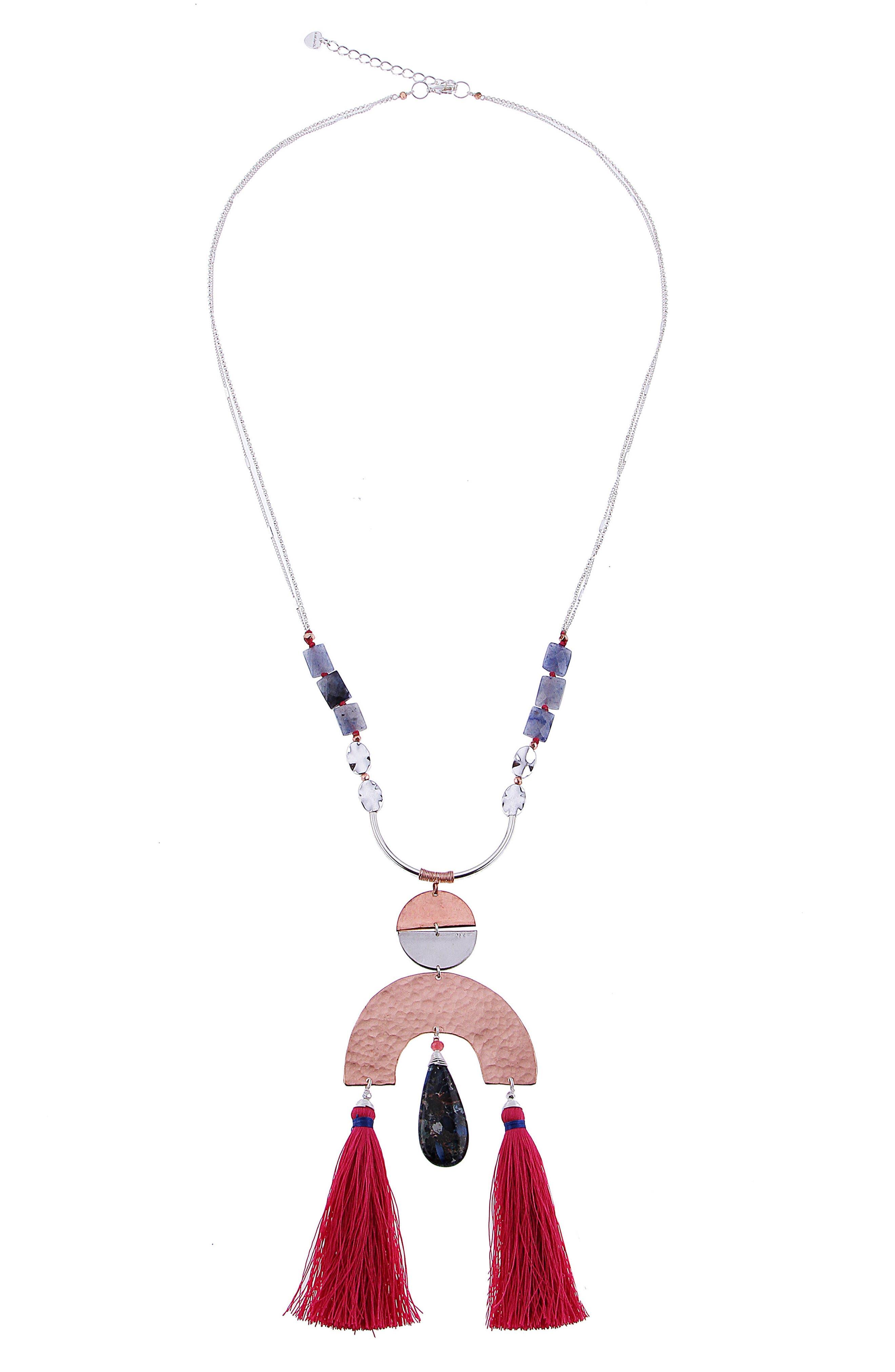 Double Tassel Agate Pendant Necklace,                             Main thumbnail 1, color,                             Blue/ Pink