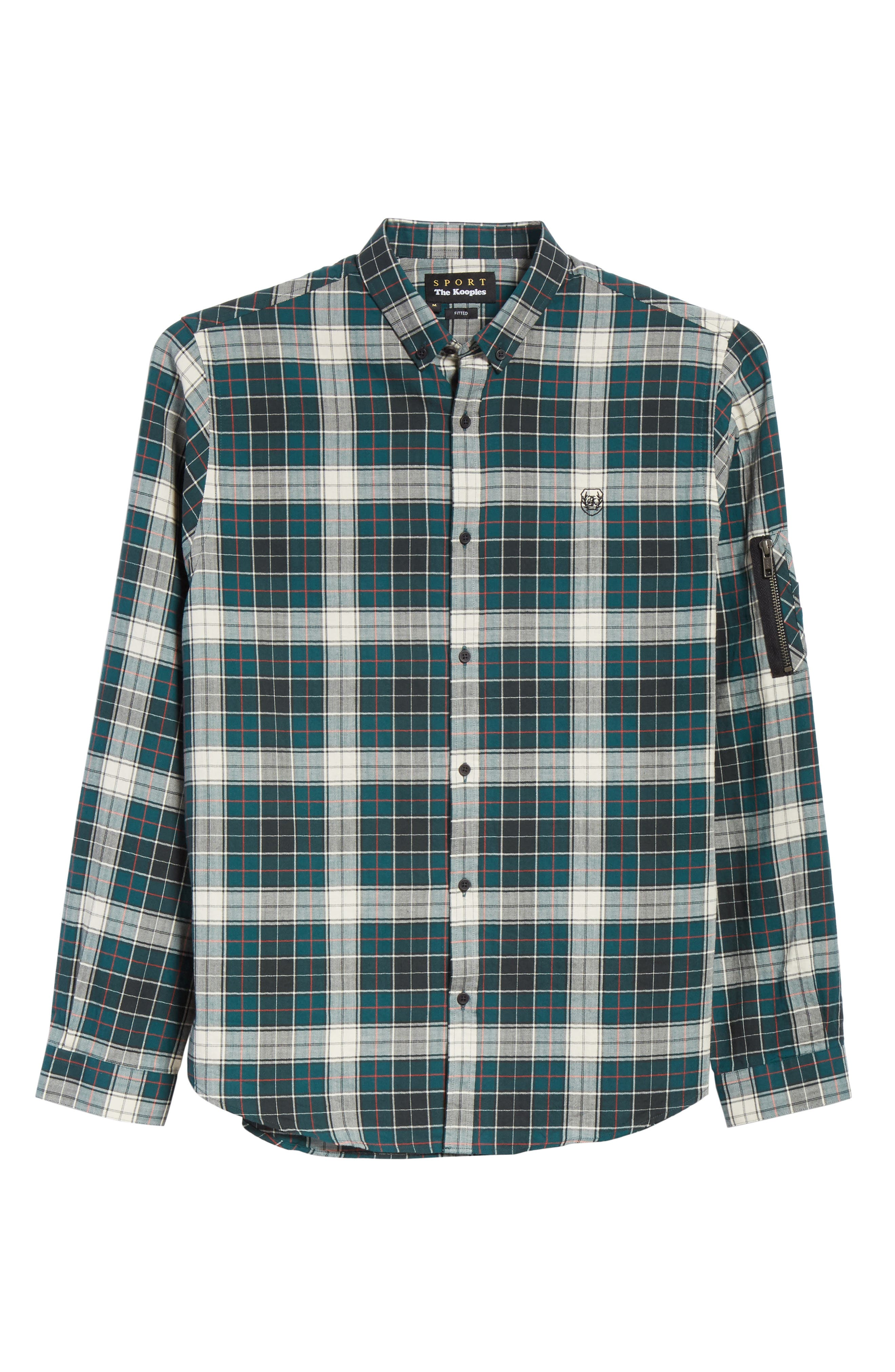 Check Woven Shirt,                             Alternate thumbnail 6, color,                             Green