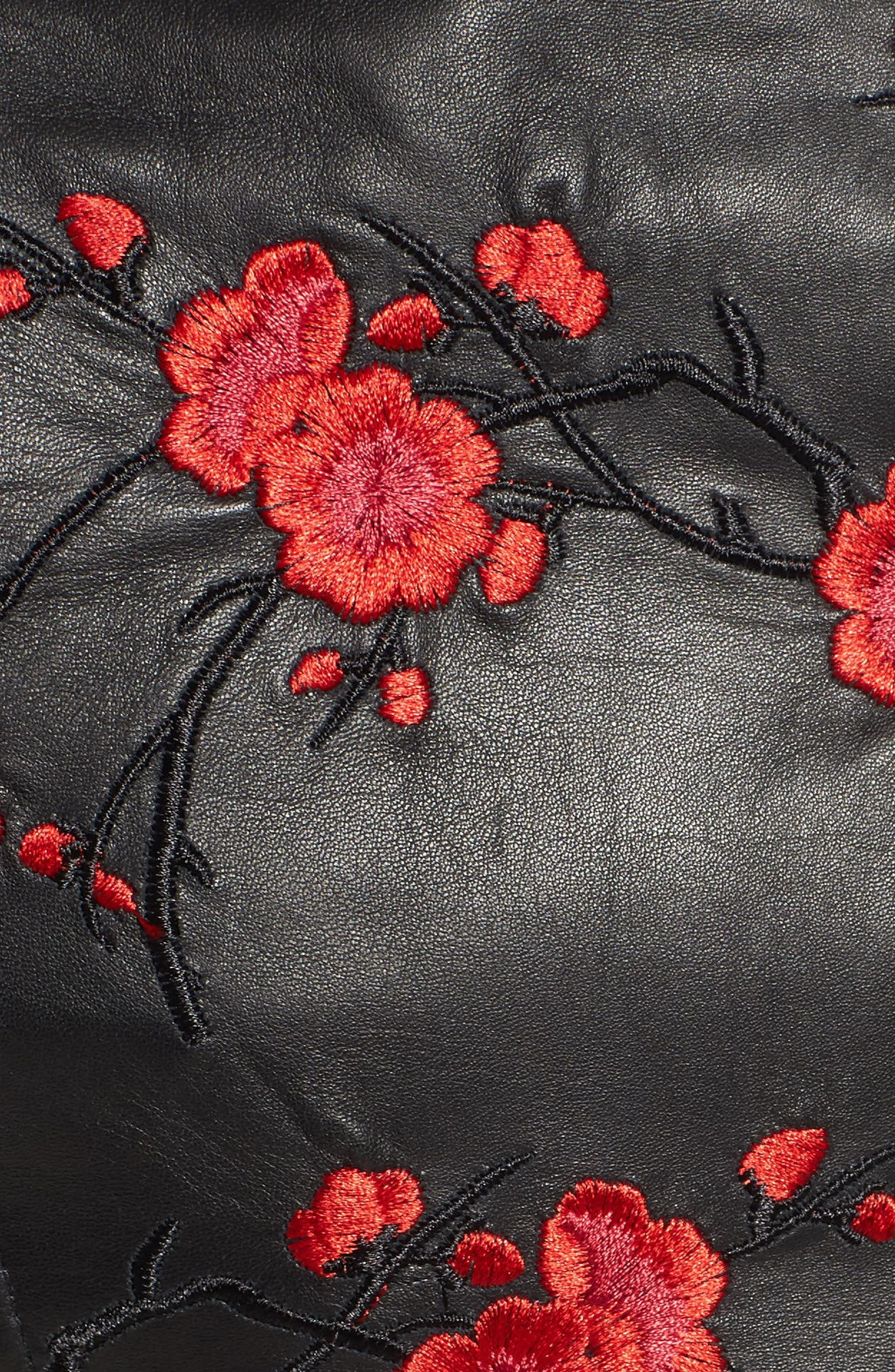 Embroidered Leather Moto Jacket,                             Alternate thumbnail 6, color,                             Black With Red Embroidery