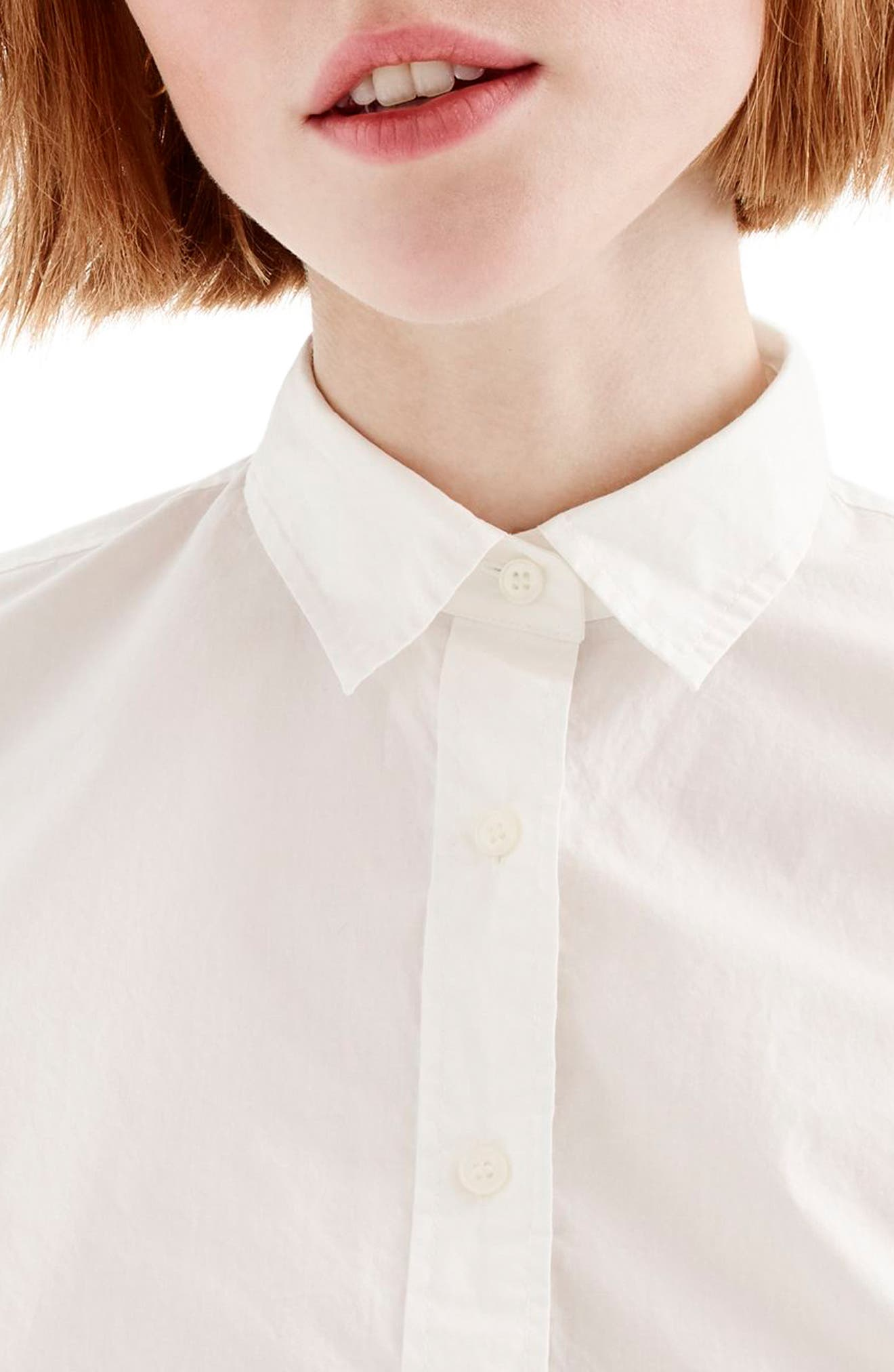 J.Crew New Perfect Cotton Poplin Shirt,                             Alternate thumbnail 2, color,                             White