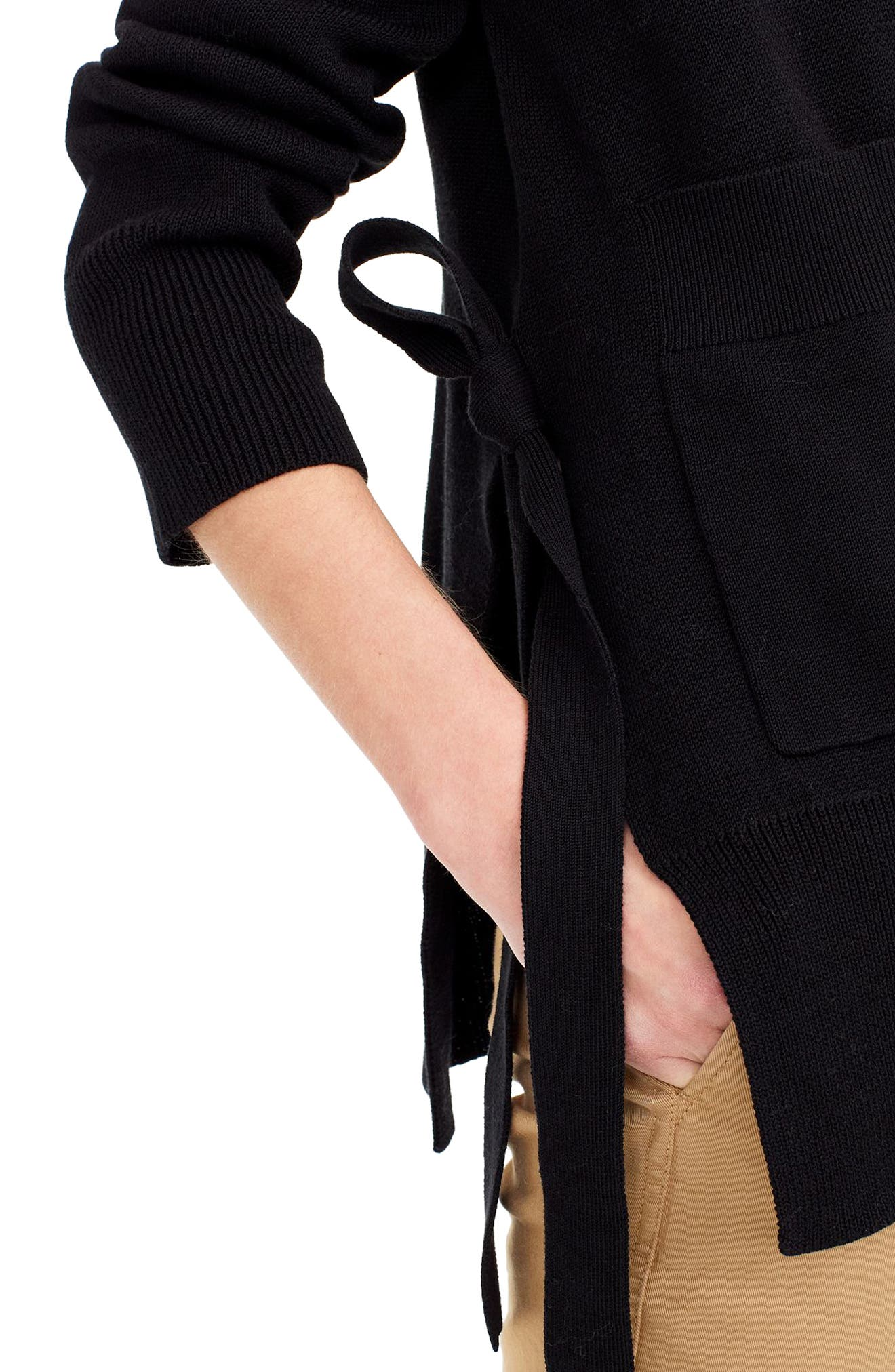 Slouchy Cardigan with Side Ties,                             Alternate thumbnail 3, color,                             Black