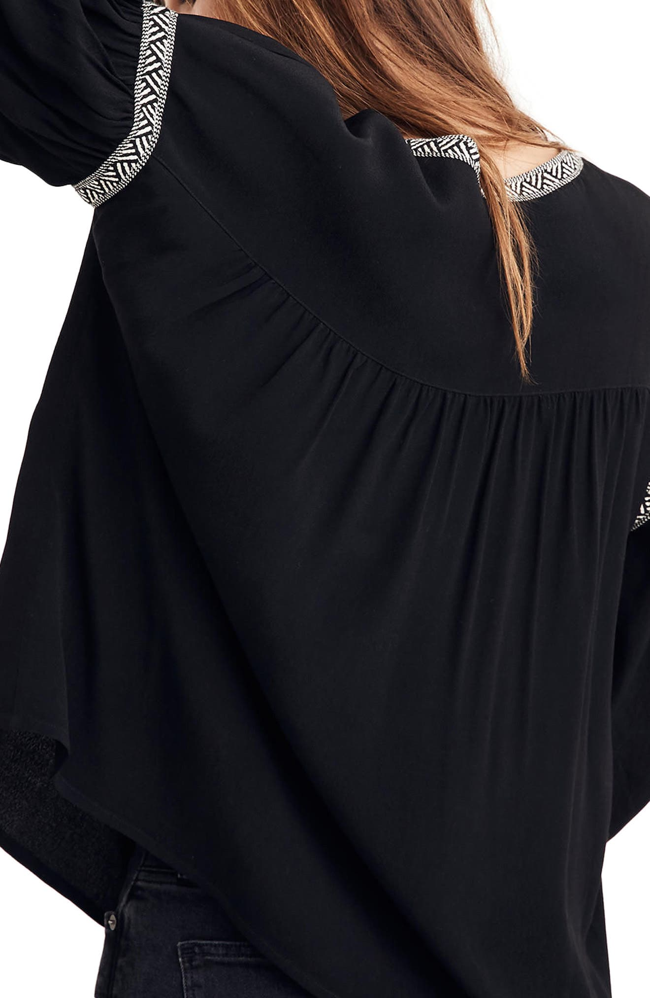 Blouson Sleeve Top,                             Alternate thumbnail 2, color,                             True Black