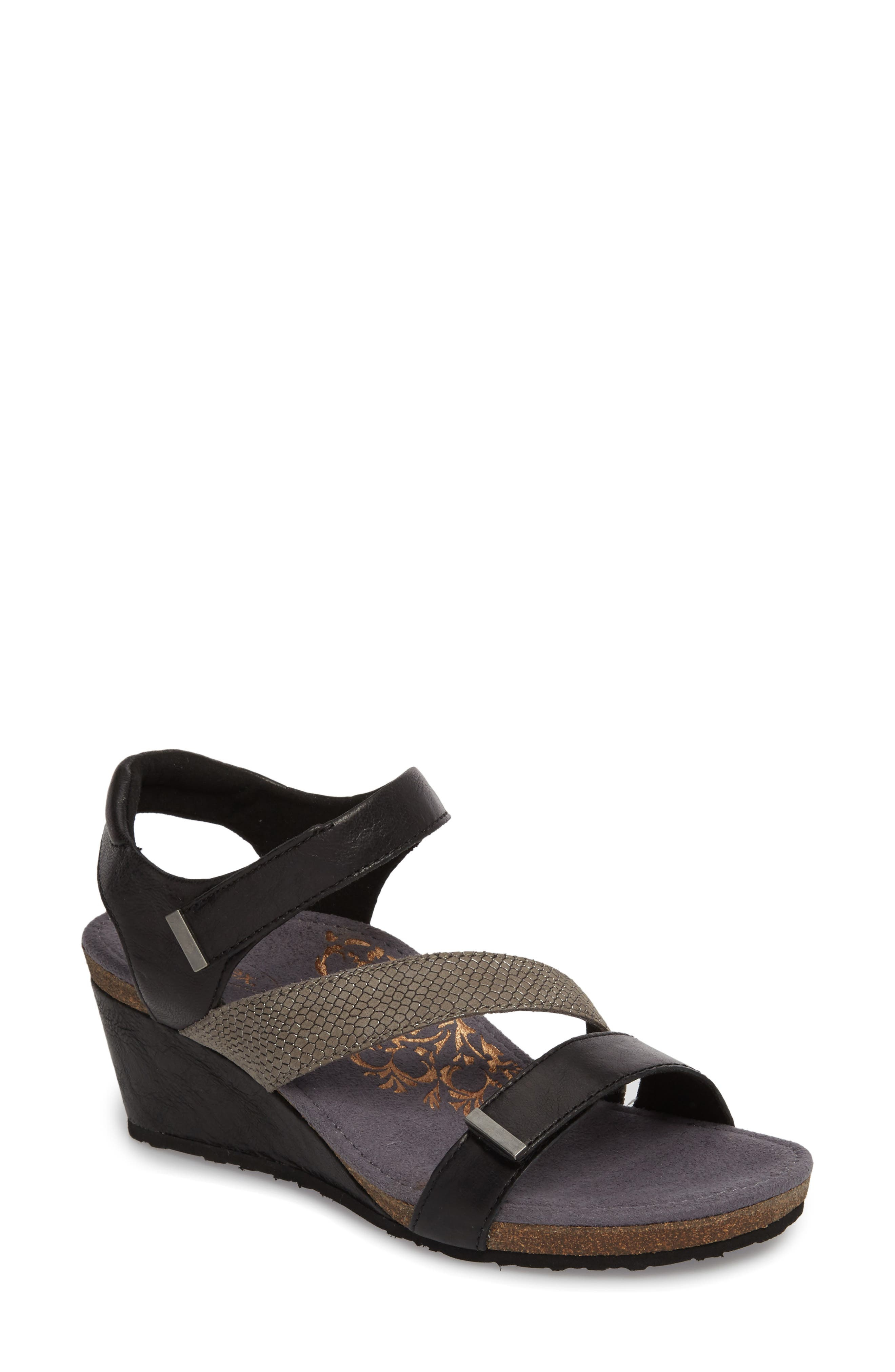 Brynn Asymmetrical Wedge Sandal,                             Main thumbnail 1, color,                             Black Leather