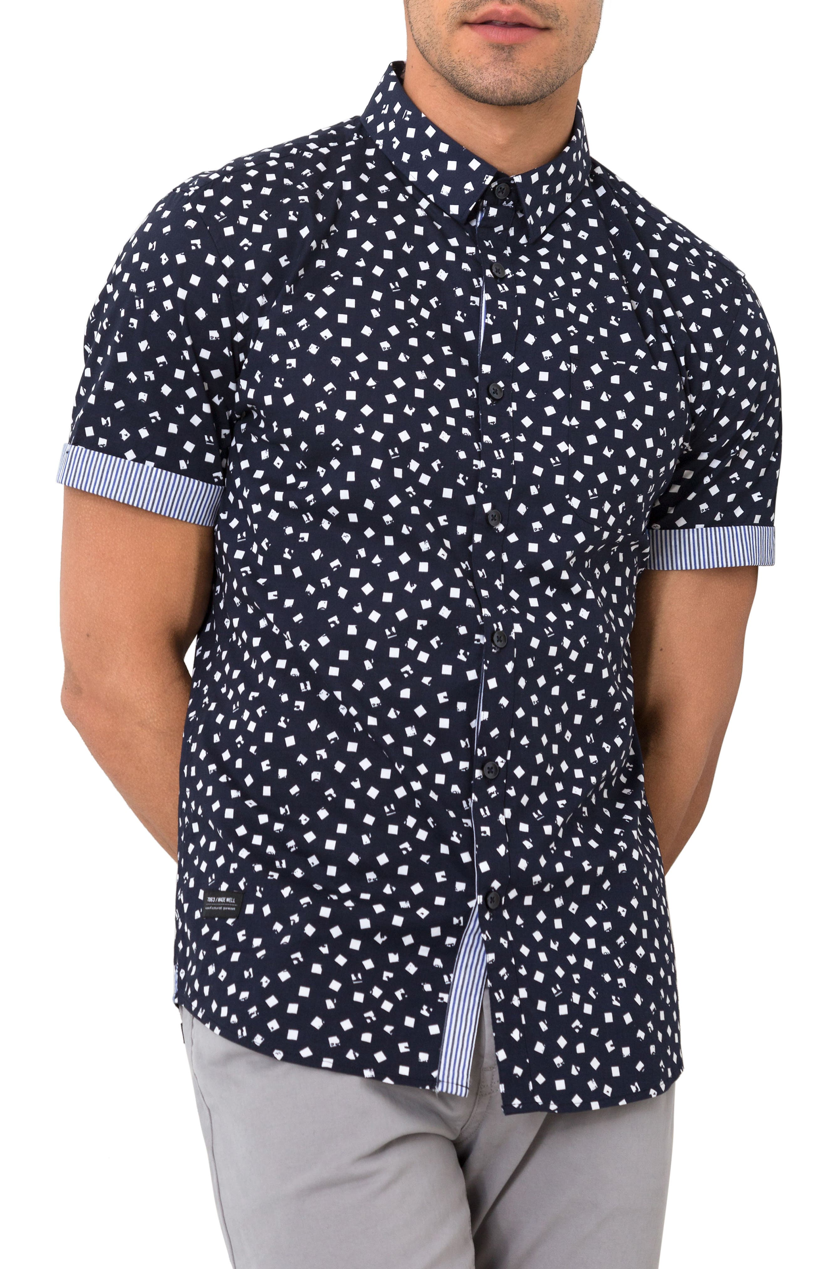 Soldier of Love Trim Fit Short Sleeve Sport Shirt,                         Main,                         color, Navy
