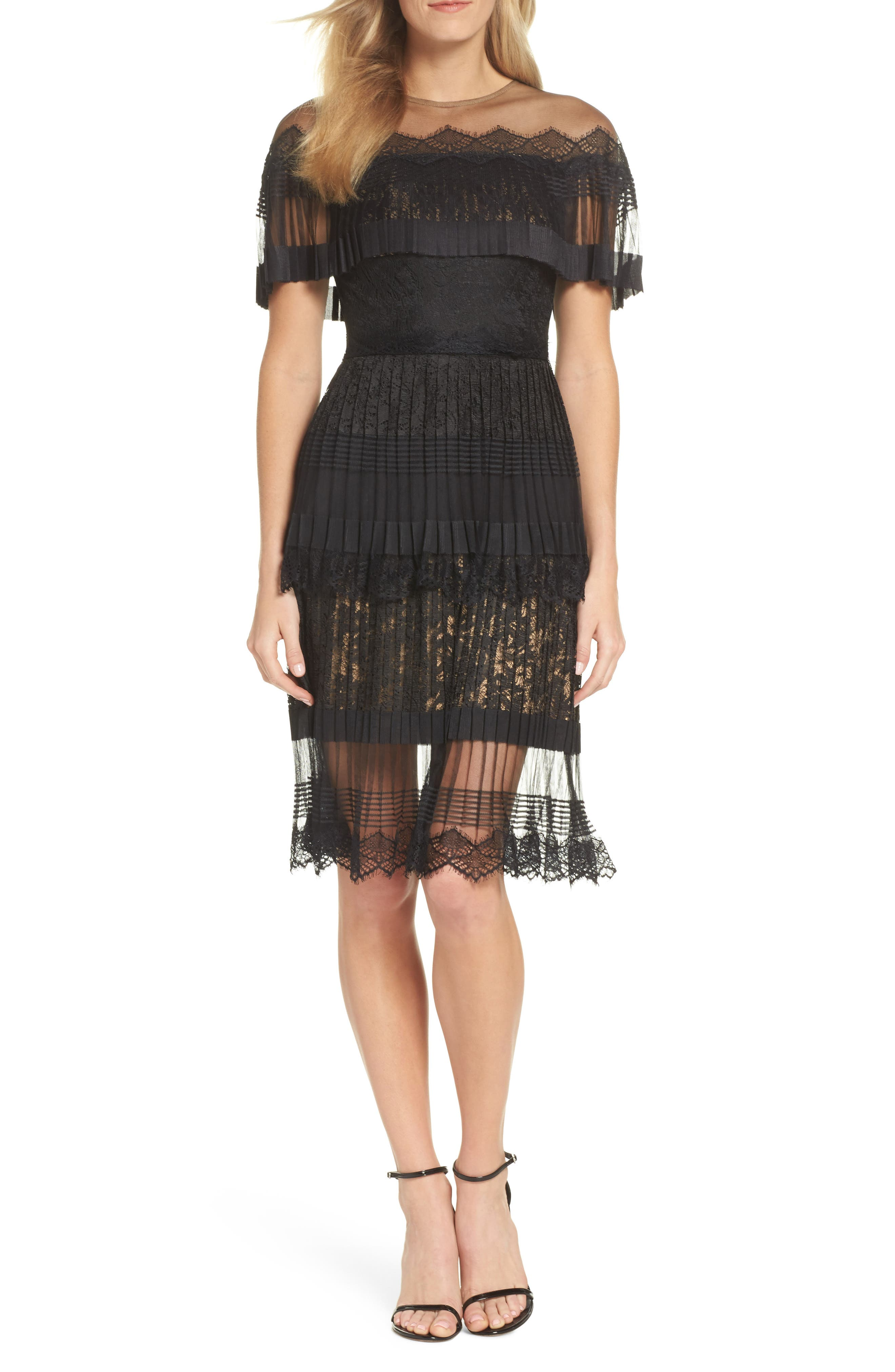Pleated Lace Dress,                             Main thumbnail 1, color,                             Black/ Nude