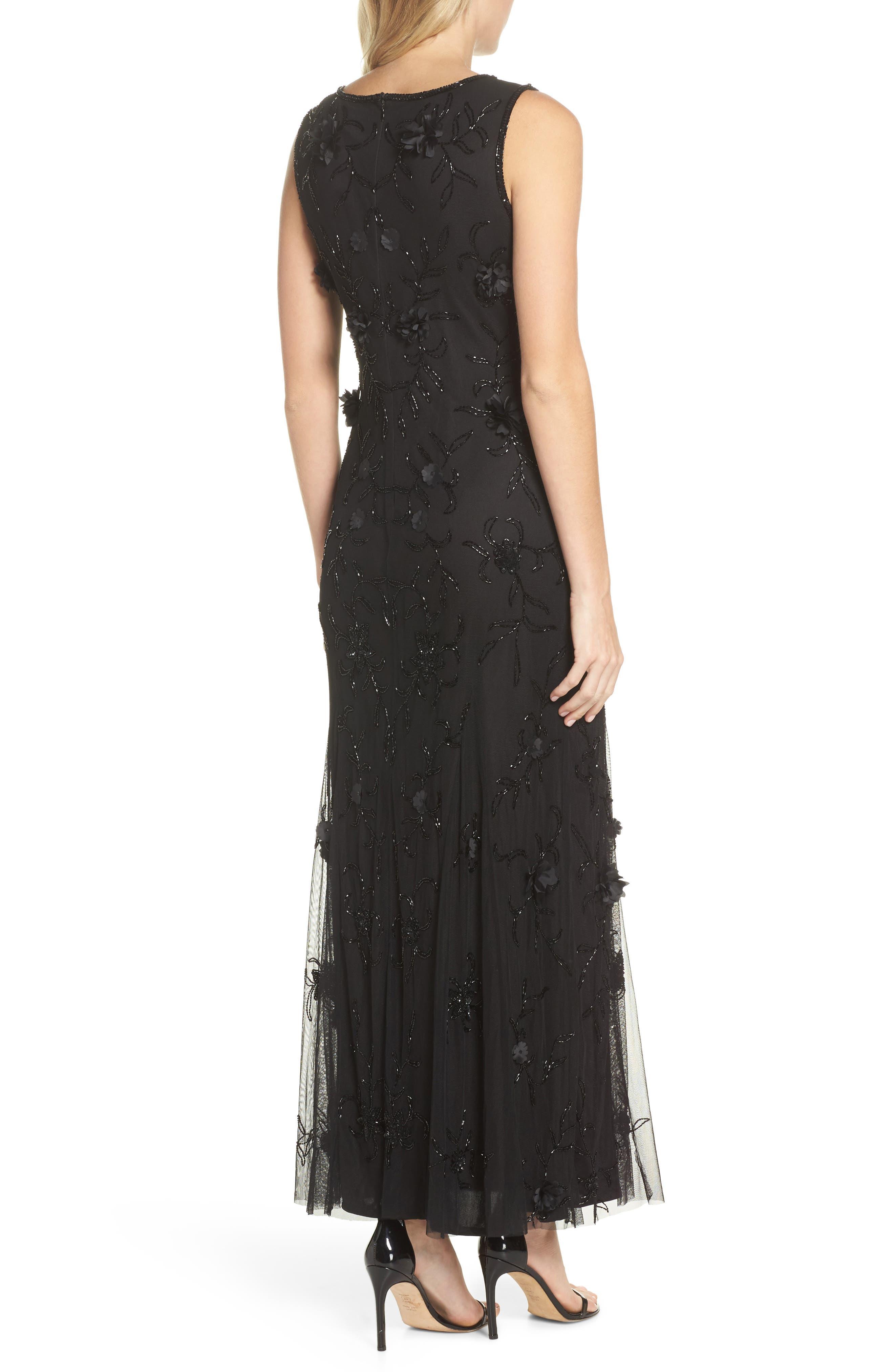 Embellished 3D Floral Maxi Dress,                             Alternate thumbnail 2, color,                             Black