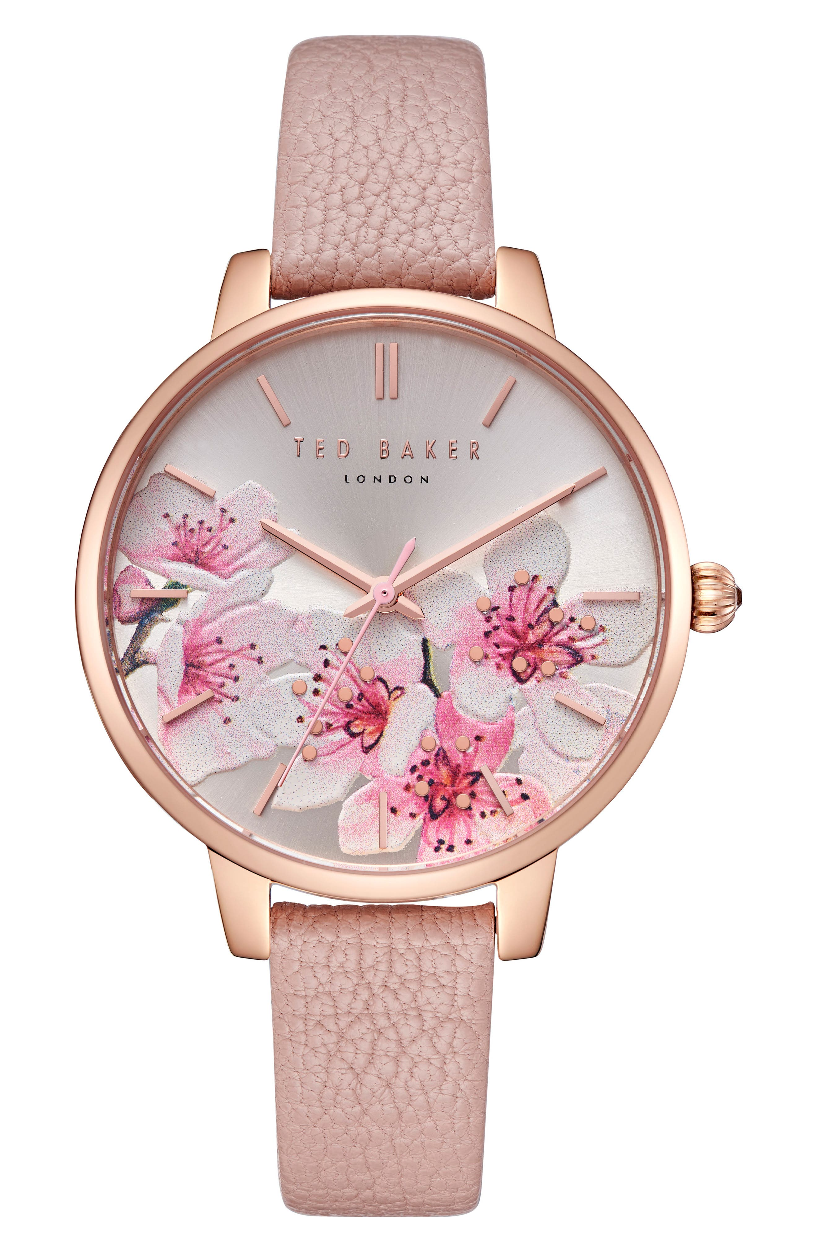 Kate Leather Strap Watch, 38mm,                         Main,                         color, Pink/ Printed/ Rose Gold