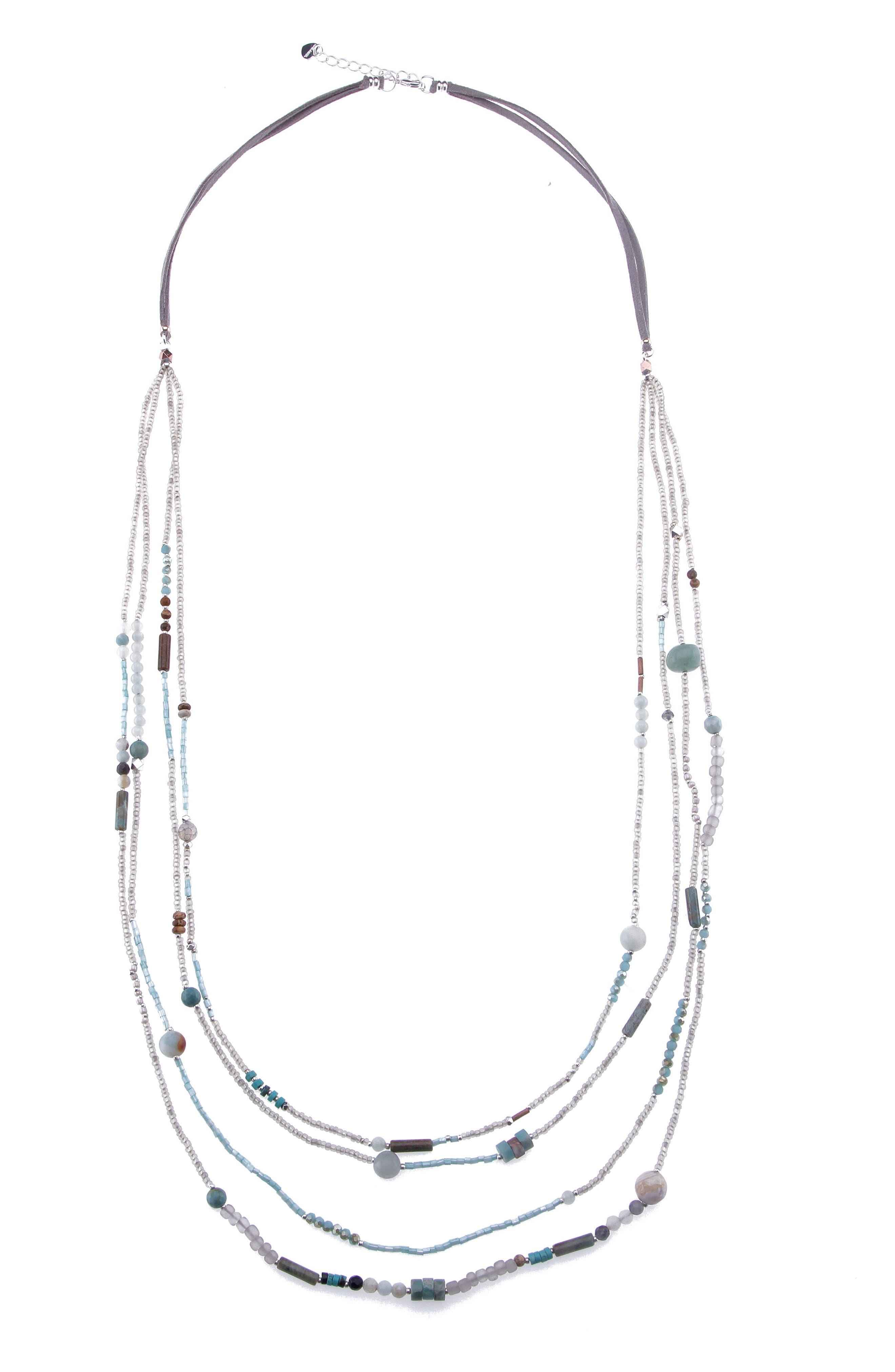 Amazonite, Agate & Crystal Long Multistrand Necklace,                             Main thumbnail 1, color,                             Aqua