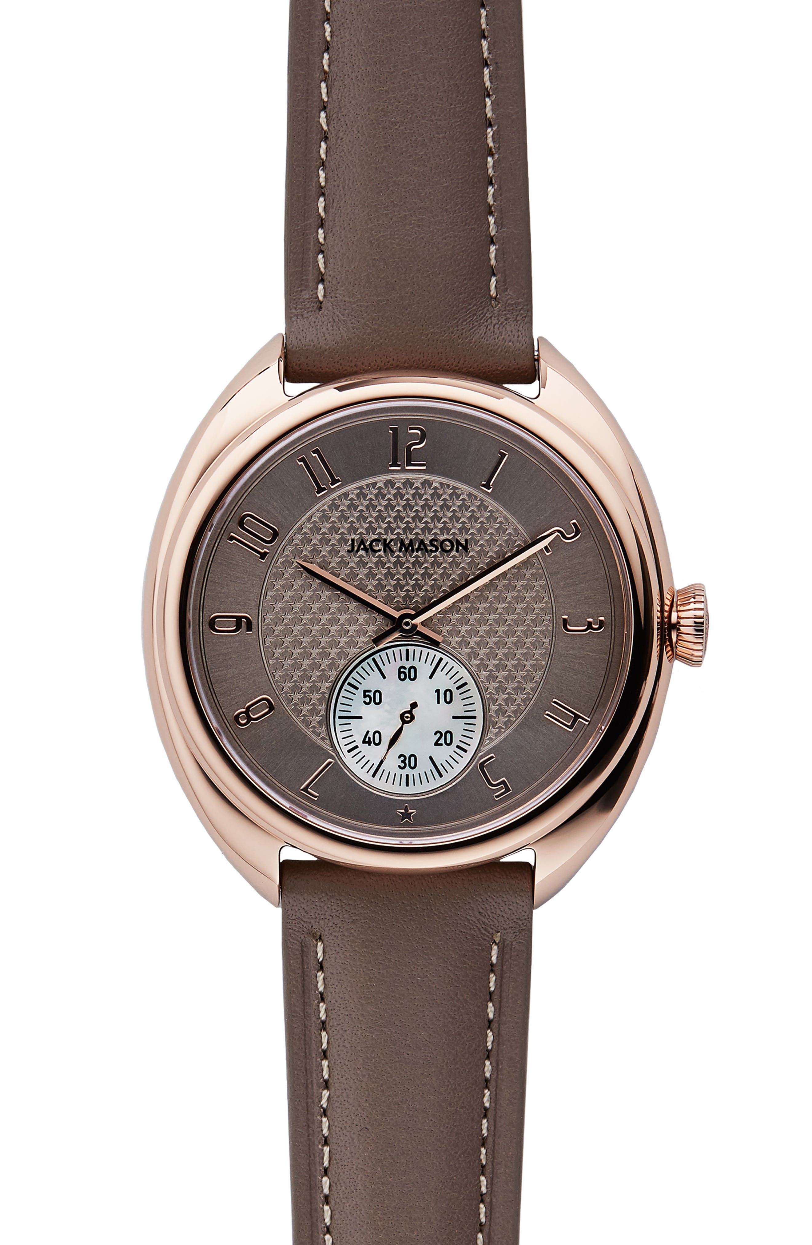 Issue No. 1 Leather Strap Watch, 41mm,                         Main,                         color, Taupe/ Rose Gold